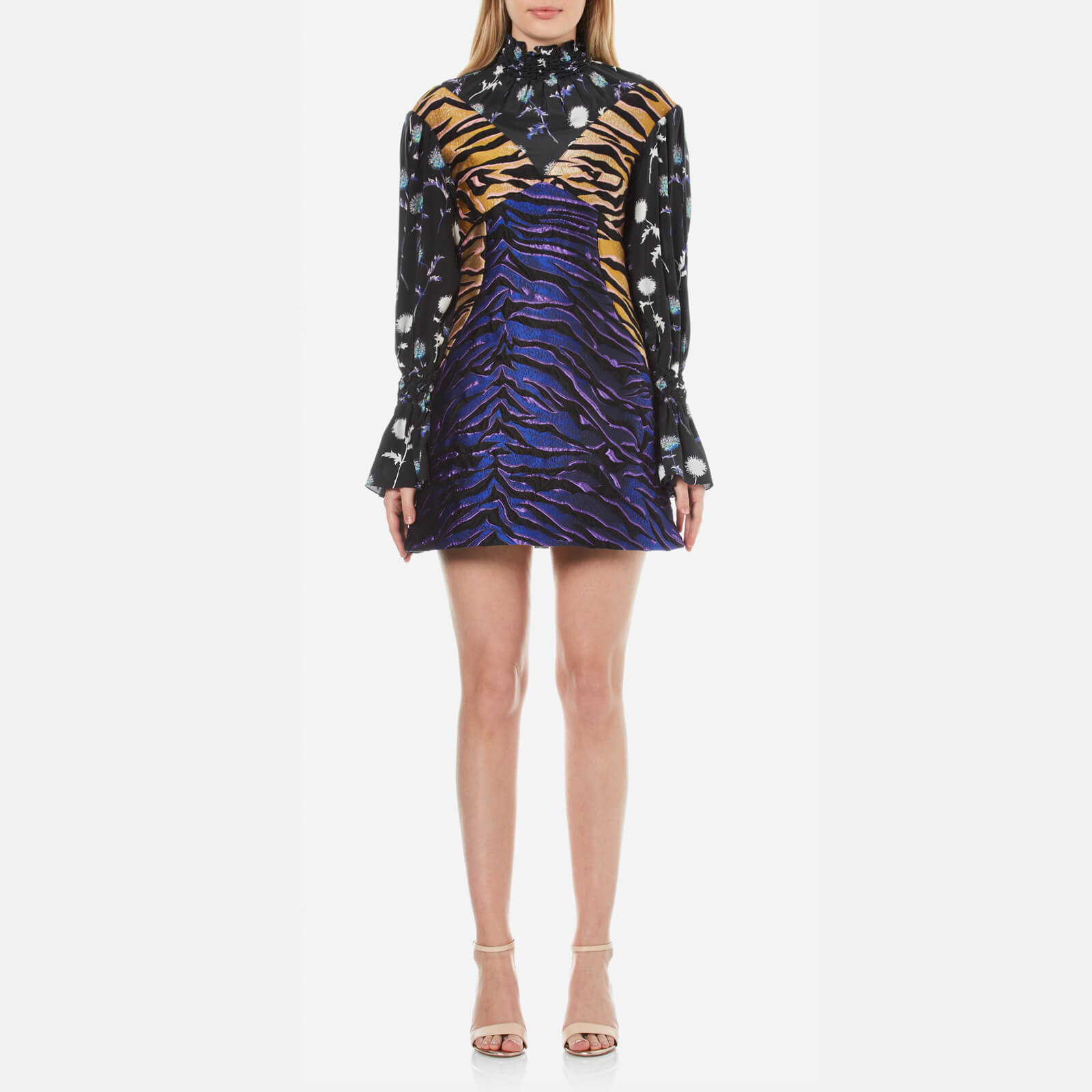 ab2d087b KENZO Women's Tiger Stripes Jacquard and Floral Mix Dress - Midnight Blue -  Free UK Delivery over £50
