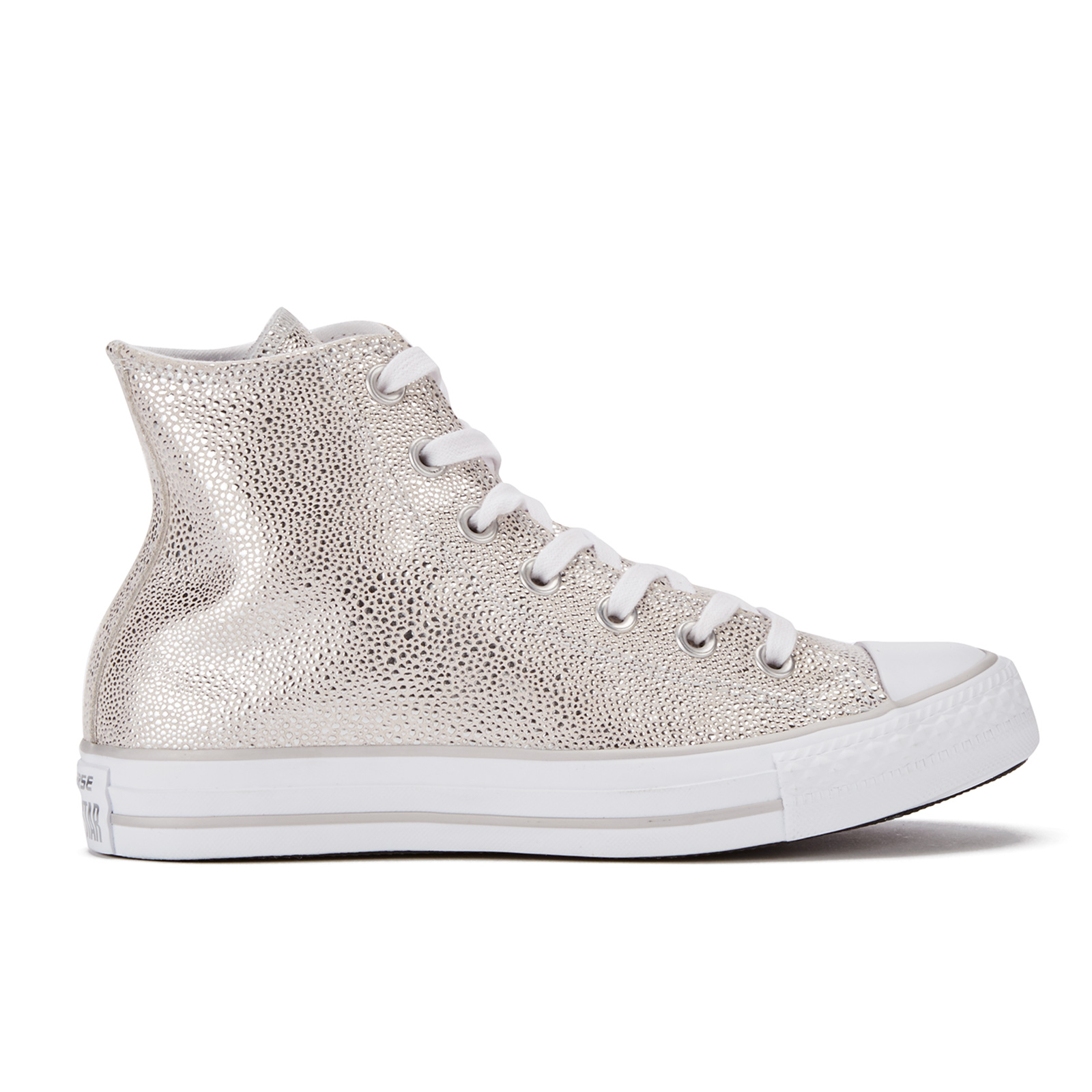 4f532646cd56 Converse Women s Chuck Taylor All Star Sting Ray Leather Hi-Top Trainers - Pure  Silver Black White - Free UK Delivery over £50