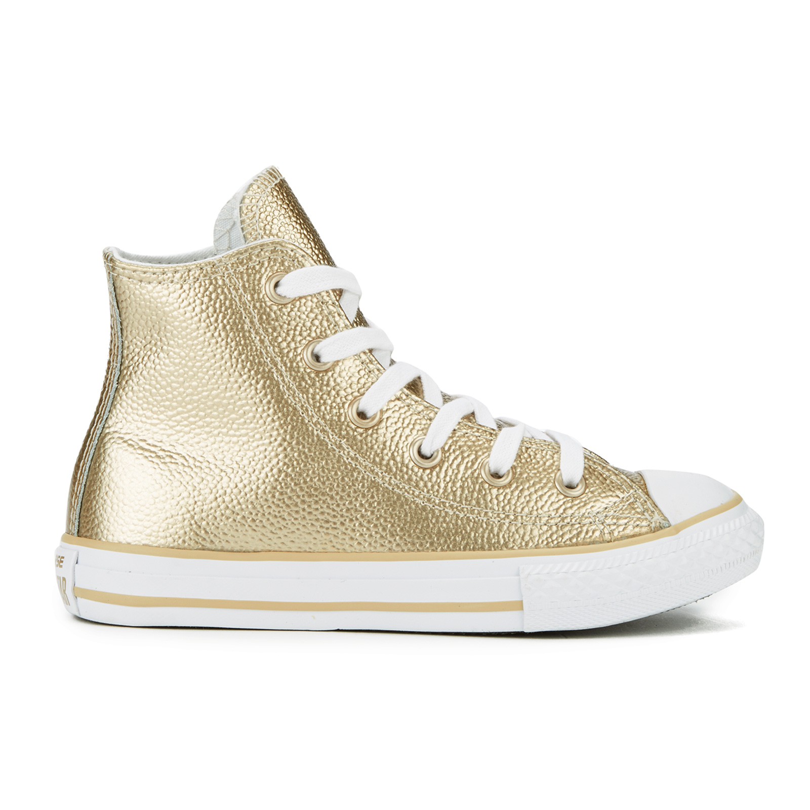Converse Kids' Chuck Taylor All Star Metallic Leather Hi Top Trainers Light GoldWhiteWhite