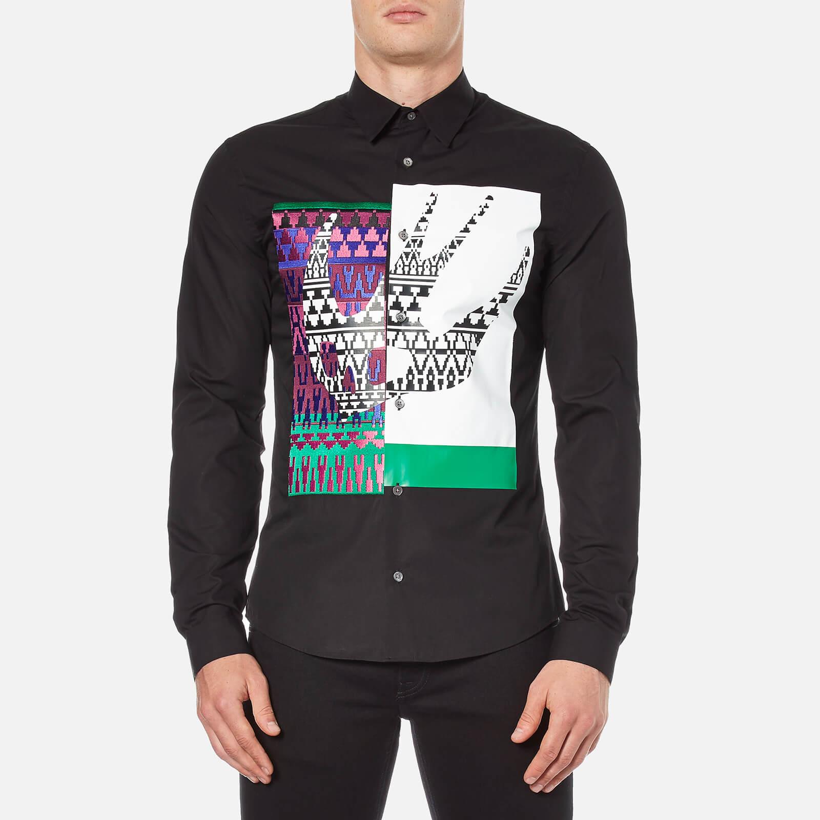 d57ea680503 McQ Alexander McQueen Men s Abstract Swallow Print Googe Shirt - Darkest  Black - Free UK Delivery over £50