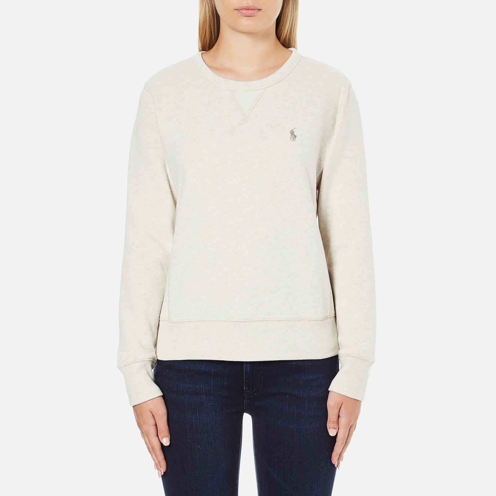 dbb25d22c7a2 Polo Ralph Lauren Women s Crew Neck Logo Sweatshirt - Chalk Heather - Free  UK Delivery over £50