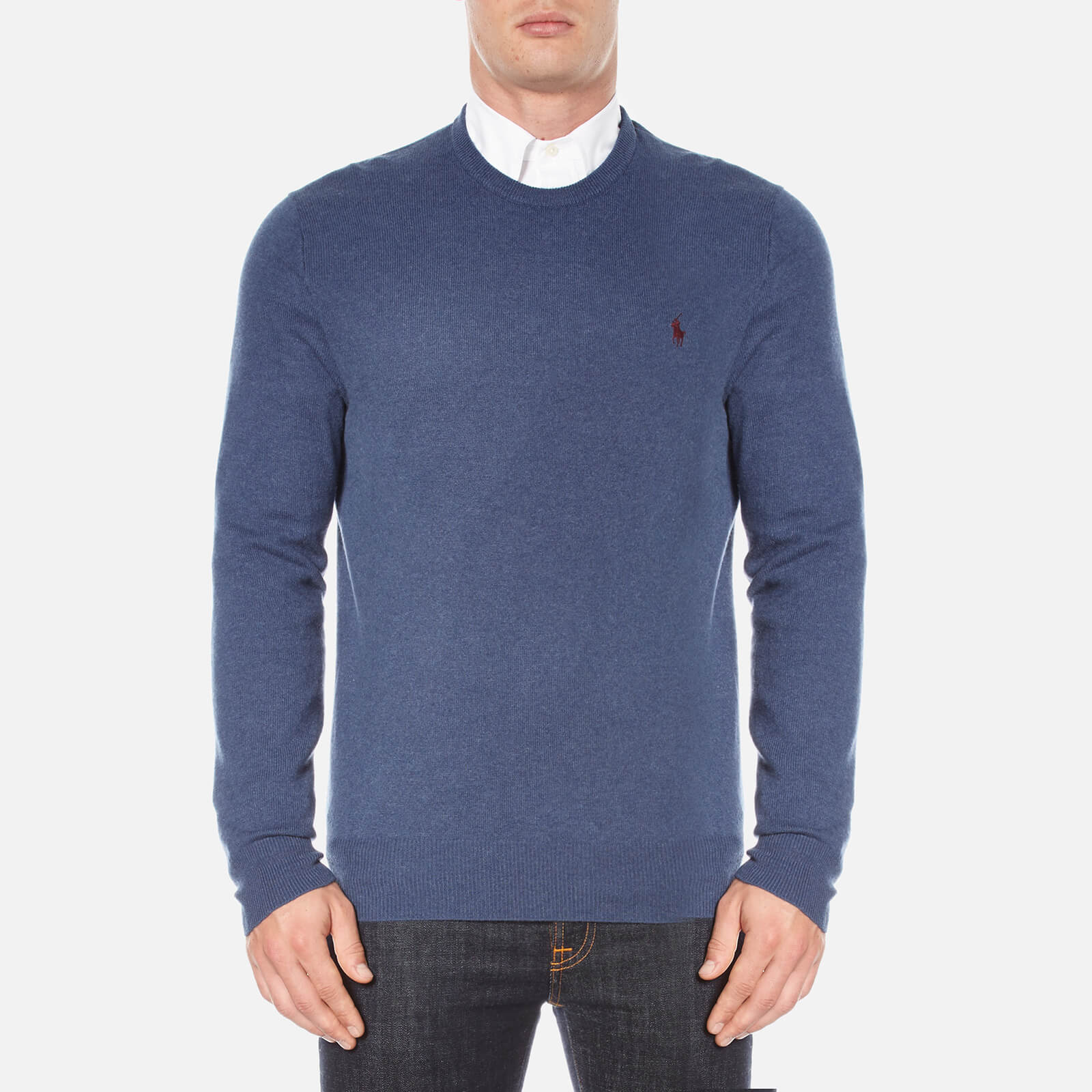 bd6e4b4aec32 Polo Ralph Lauren Men s Crew Neck Merino Knitted Jumper - Shale Blue  Heather - Free UK Delivery over £50