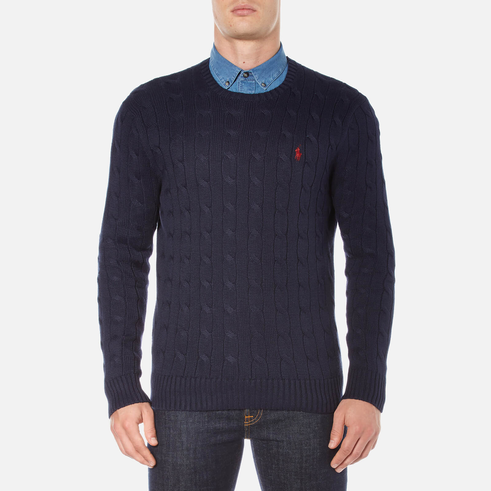 b5543040ddec40 Polo Ralph Lauren Men's Crew Neck Cable Knitted Jumper - Hunter Navy - Free  UK Delivery over £50