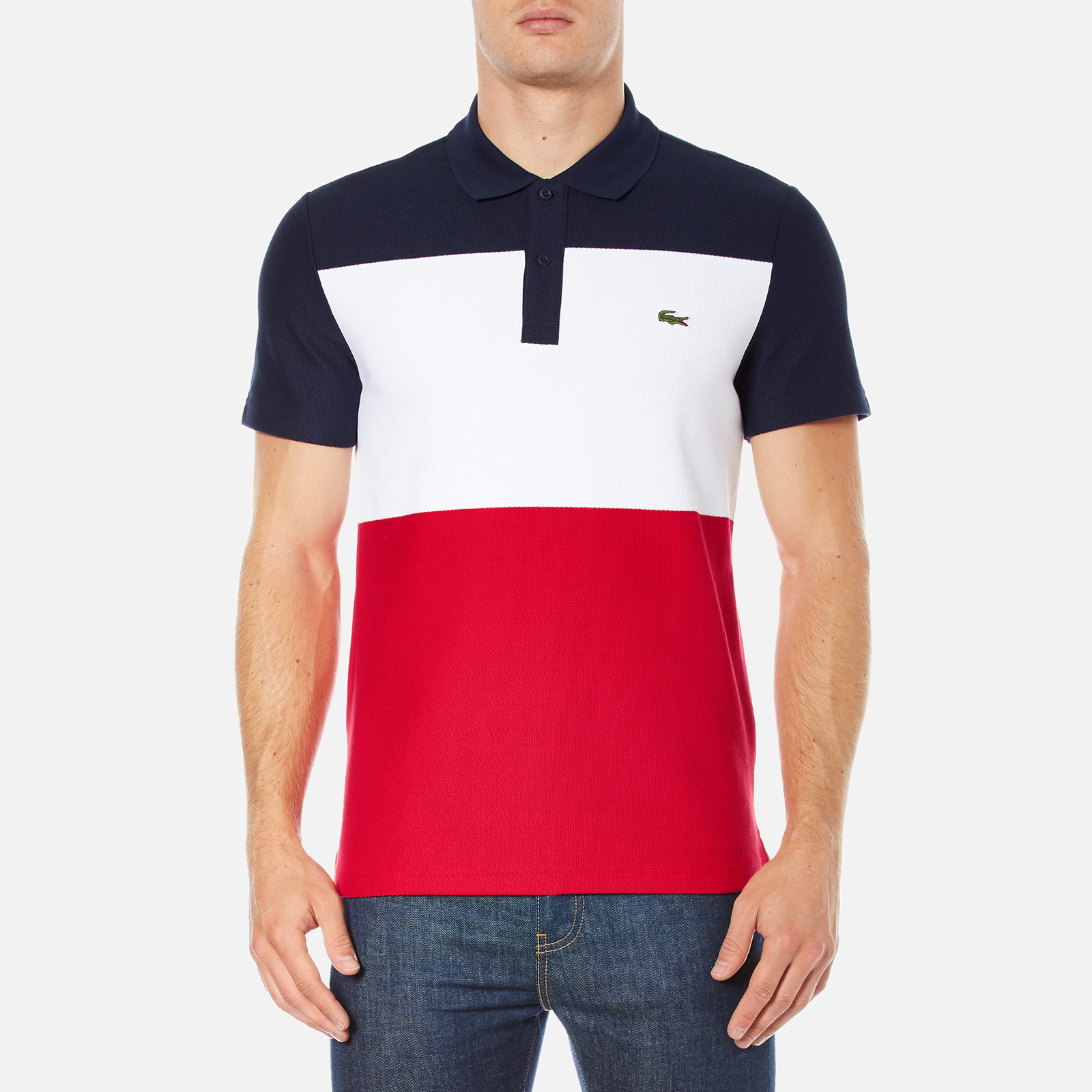 149afa55a5c15 Lacoste Men s Short Sleeve Bold Stripe Polo Shirt - Navy Blue White Red -  Free UK Delivery over £50