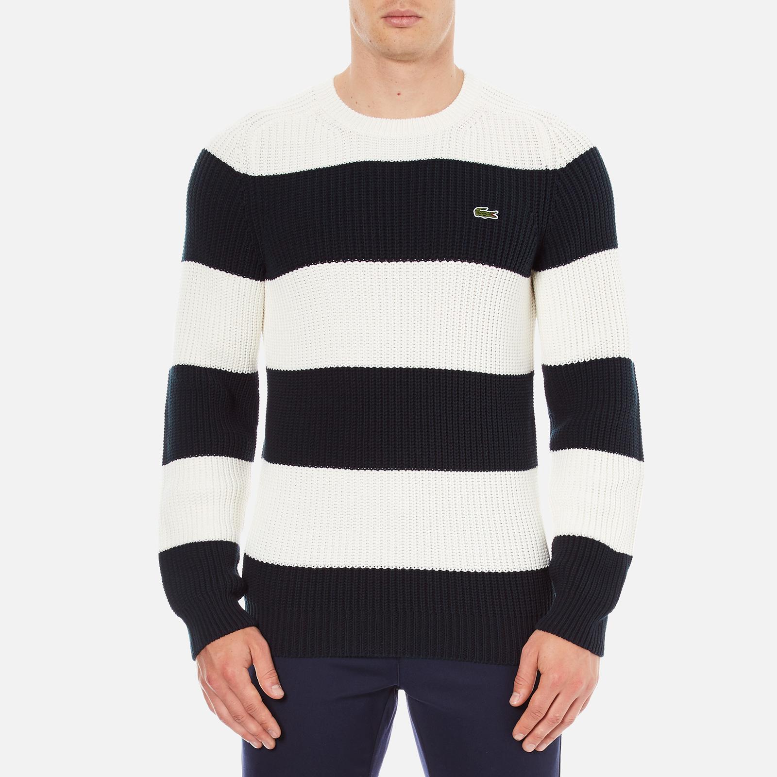35672c72 Lacoste Men's Crew Neck Stripe Sweatshirt - Navy Blue/Flour
