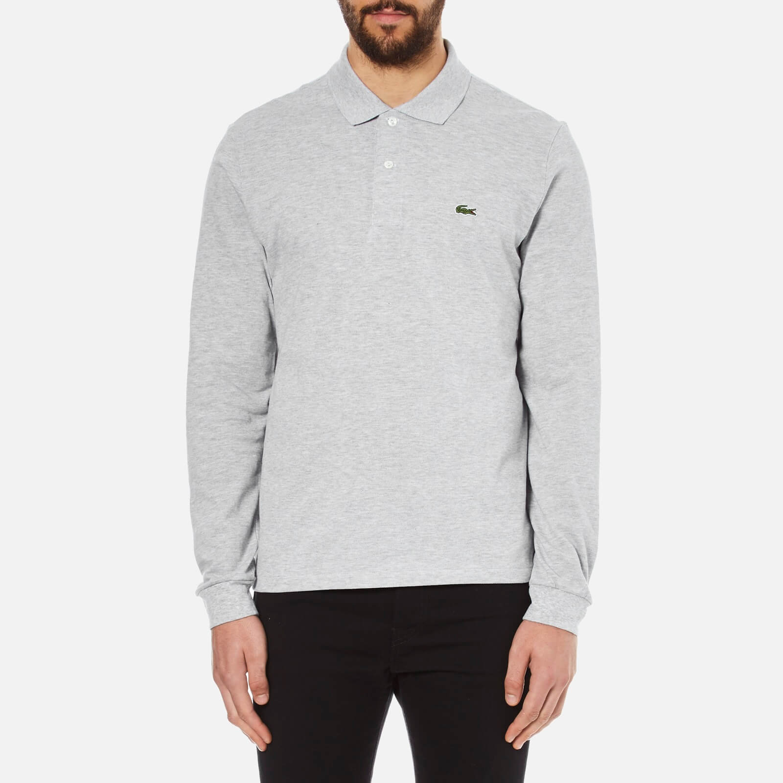 b9c137a8 Lacoste Men's Long Sleeve Marl Polo Shirt - Silver Chine - Free UK Delivery  over £50