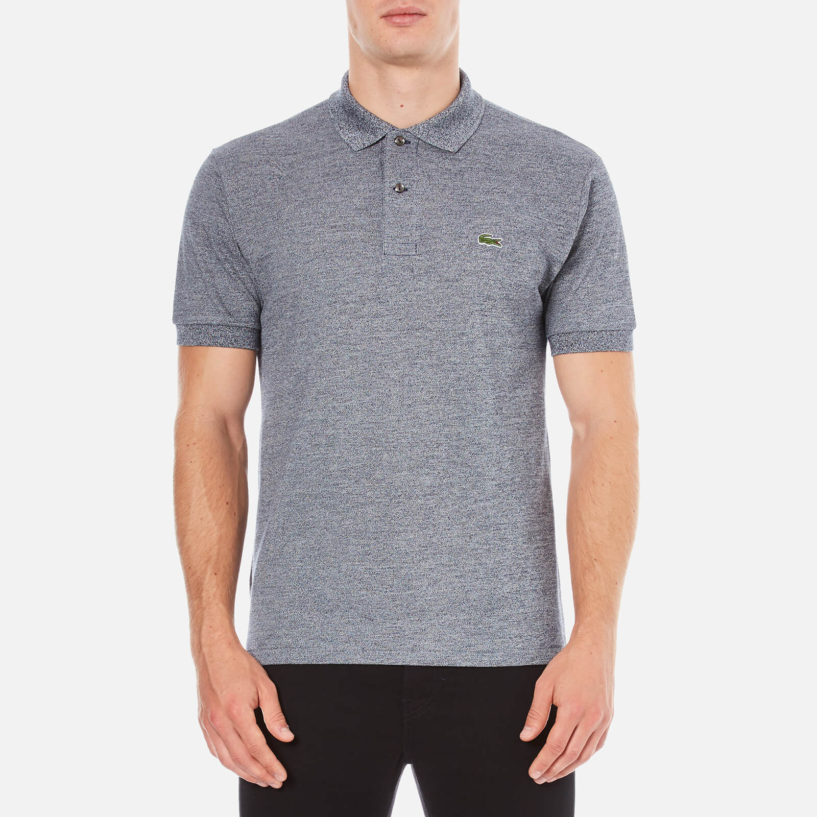 78fa8a9b3 Lacoste Men s Basic Pique Short Sleeve Marl Polo Shirt - Navy Blue Mouline  - Free UK Delivery over £50