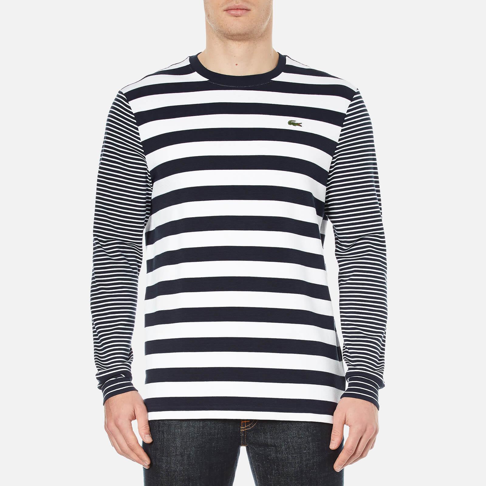 9cad76686ff9c Lacoste L!ve Men s Long Sleeve Stripe T-Shirt - Navy Blue White - Free UK  Delivery over £50