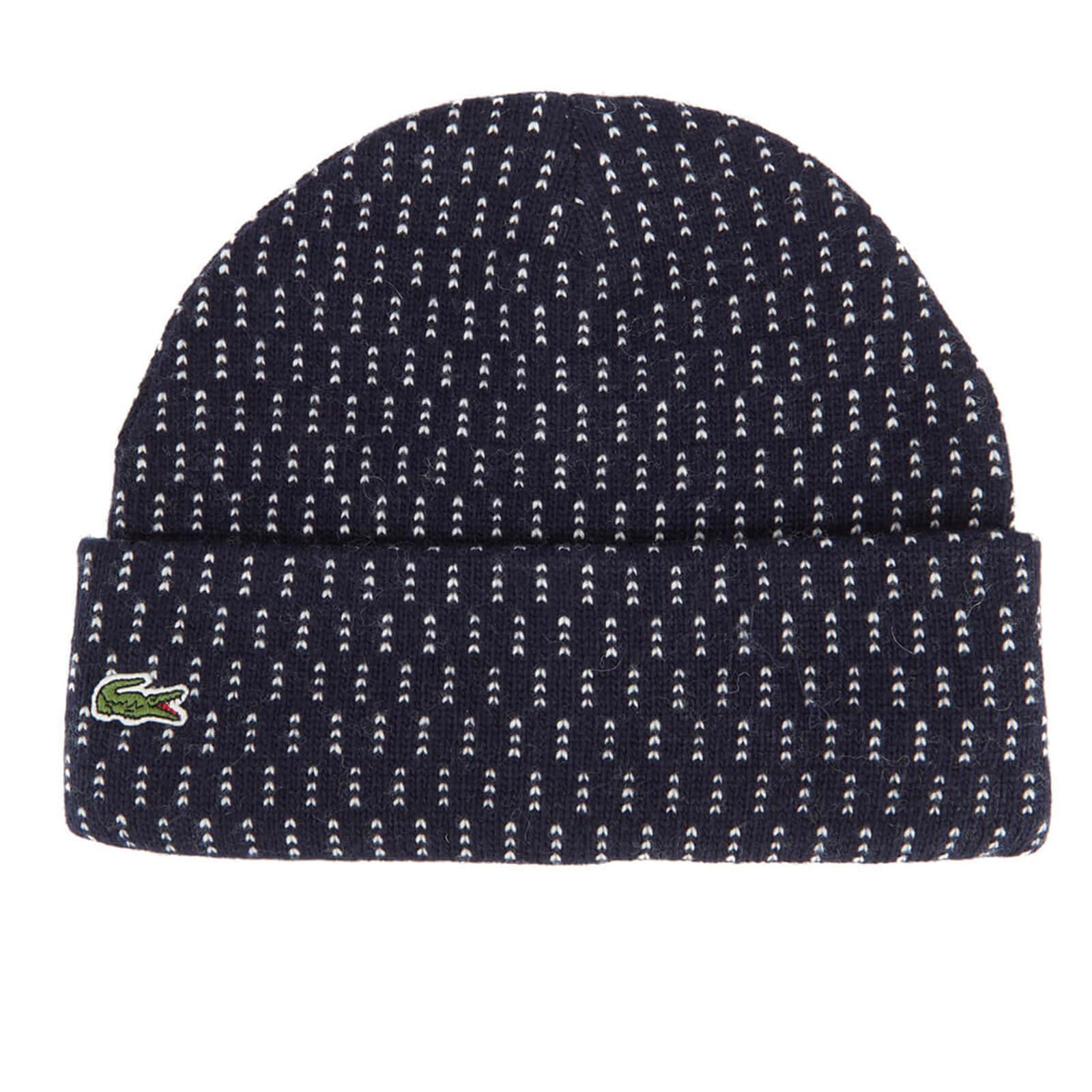 111a29c6 Lacoste L!ve Men's Ribbed Beanie Hat - Navy Blue/White