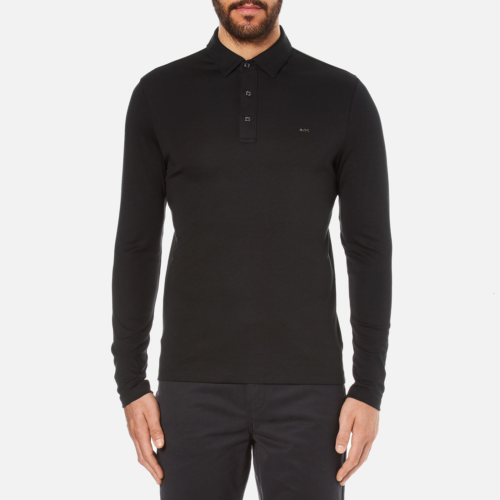 de82dfbfd Michael Kors Men's Long Sleeve Sleek MK Polo Top - Black - Free UK Delivery  over £50