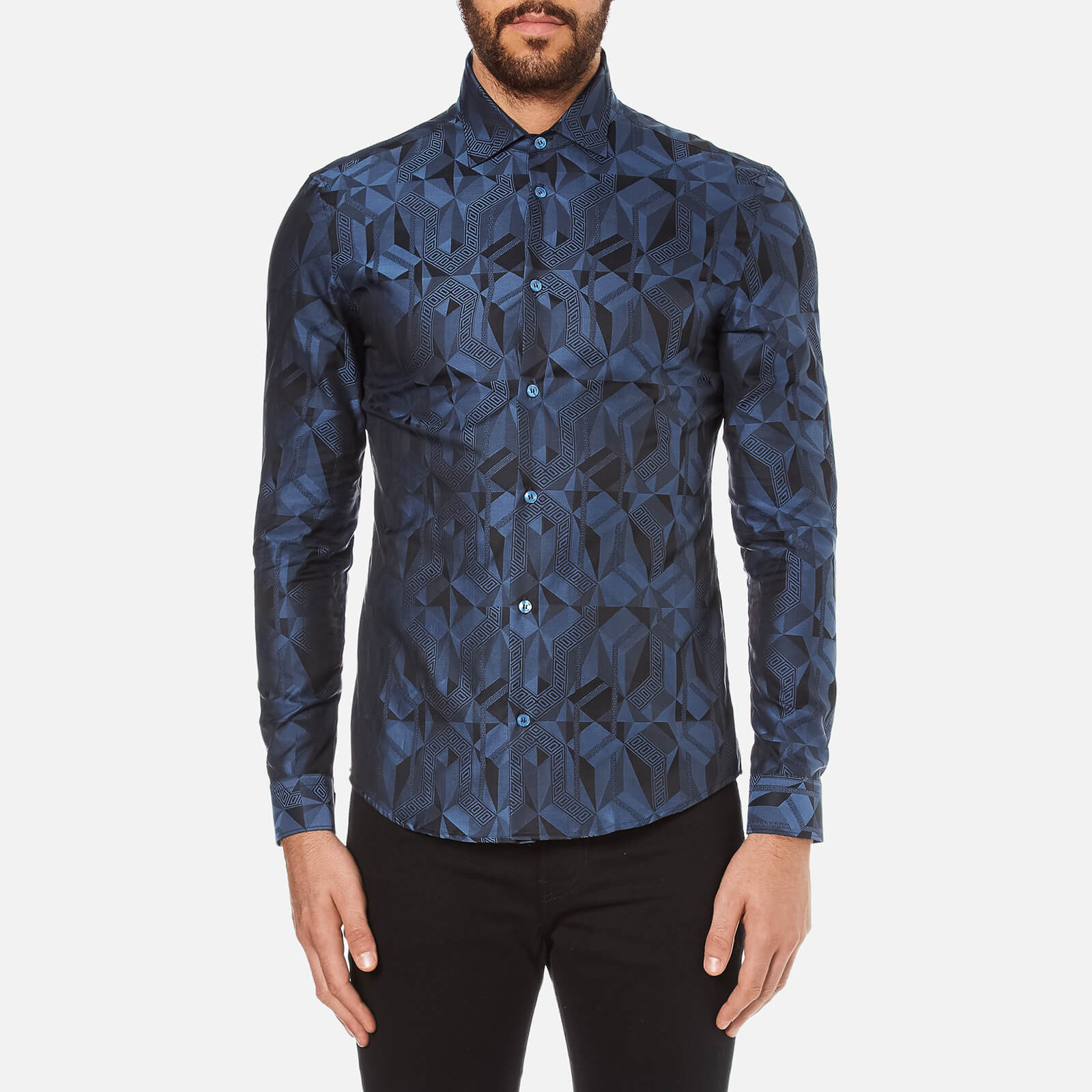39a28292 Versace Collection Men's All Over Pattern Long Sleeve Shirt - Foschia -  Free UK Delivery over £50