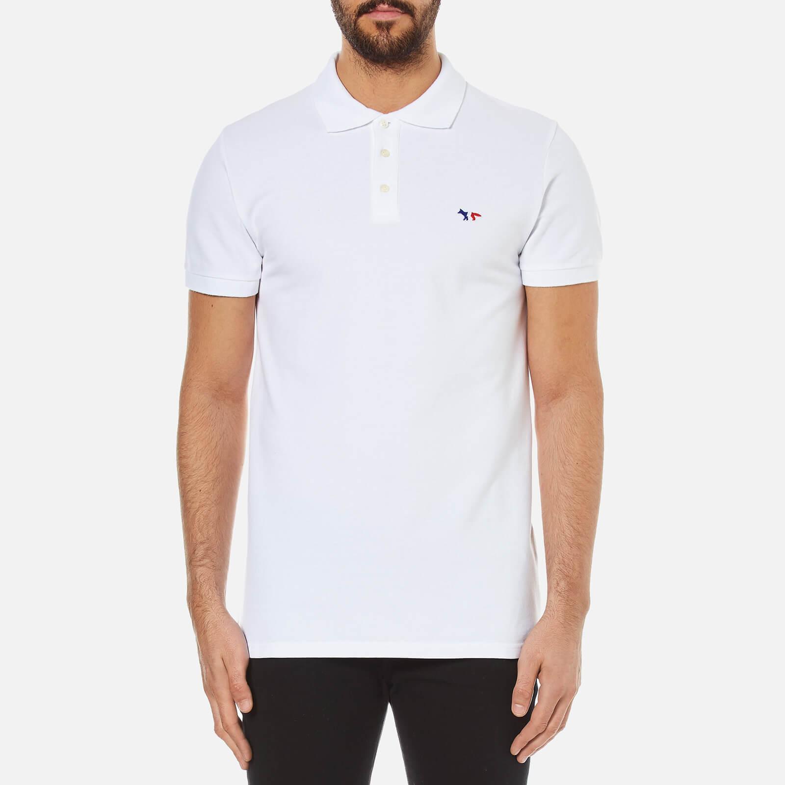 85786d5a0ad0 Maison Kitsuné Men s Tricolor Fox Patch Polo Shirt - White - Free UK ...