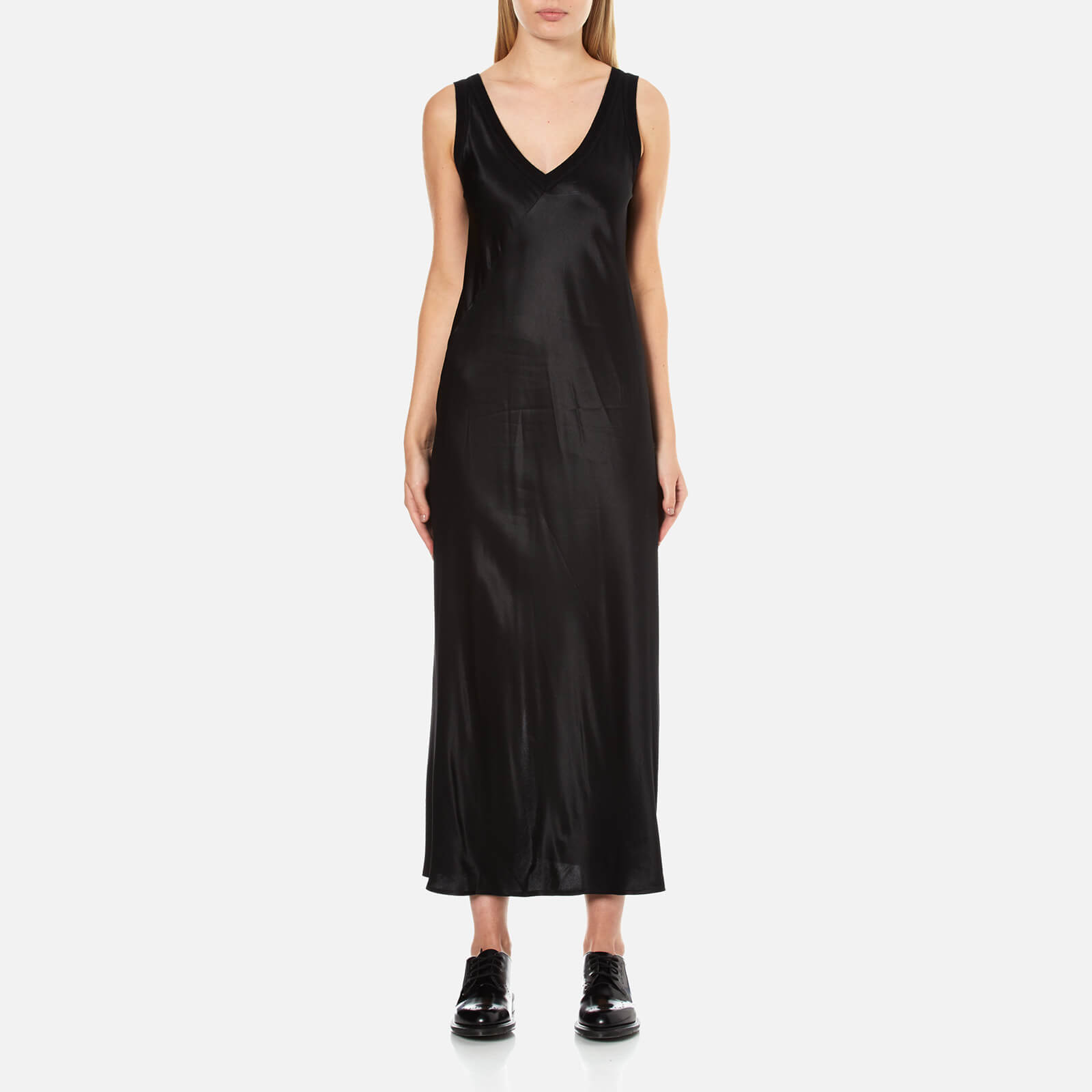 96ea0413382671 ... DKNY Women s Sleeveless V-Neck Slip Dress with Ribbed Trims and Back  Slit - Black
