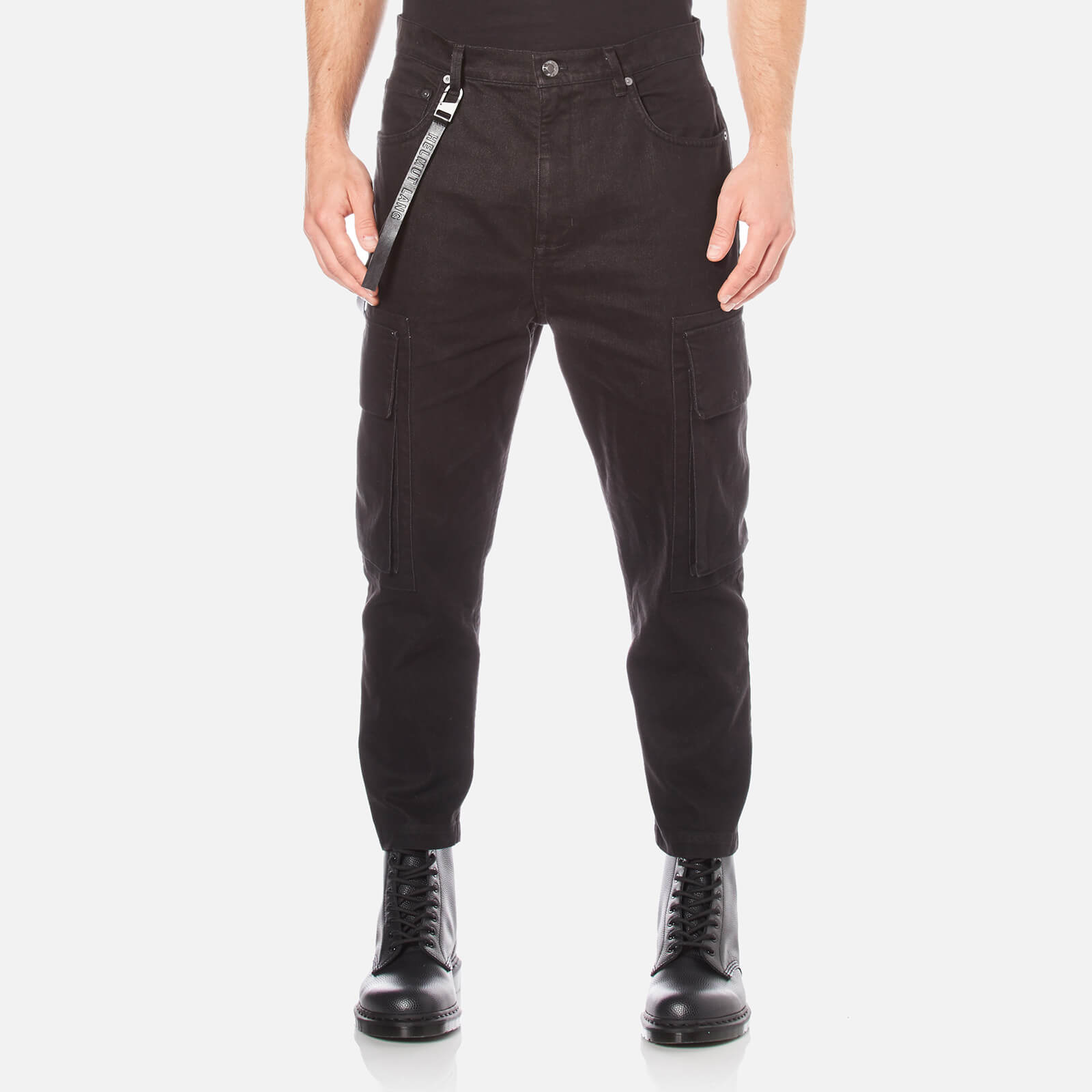 45230142 Helmut Lang Men's Cropped Cargo Jeans - Black - Free UK Delivery over £50