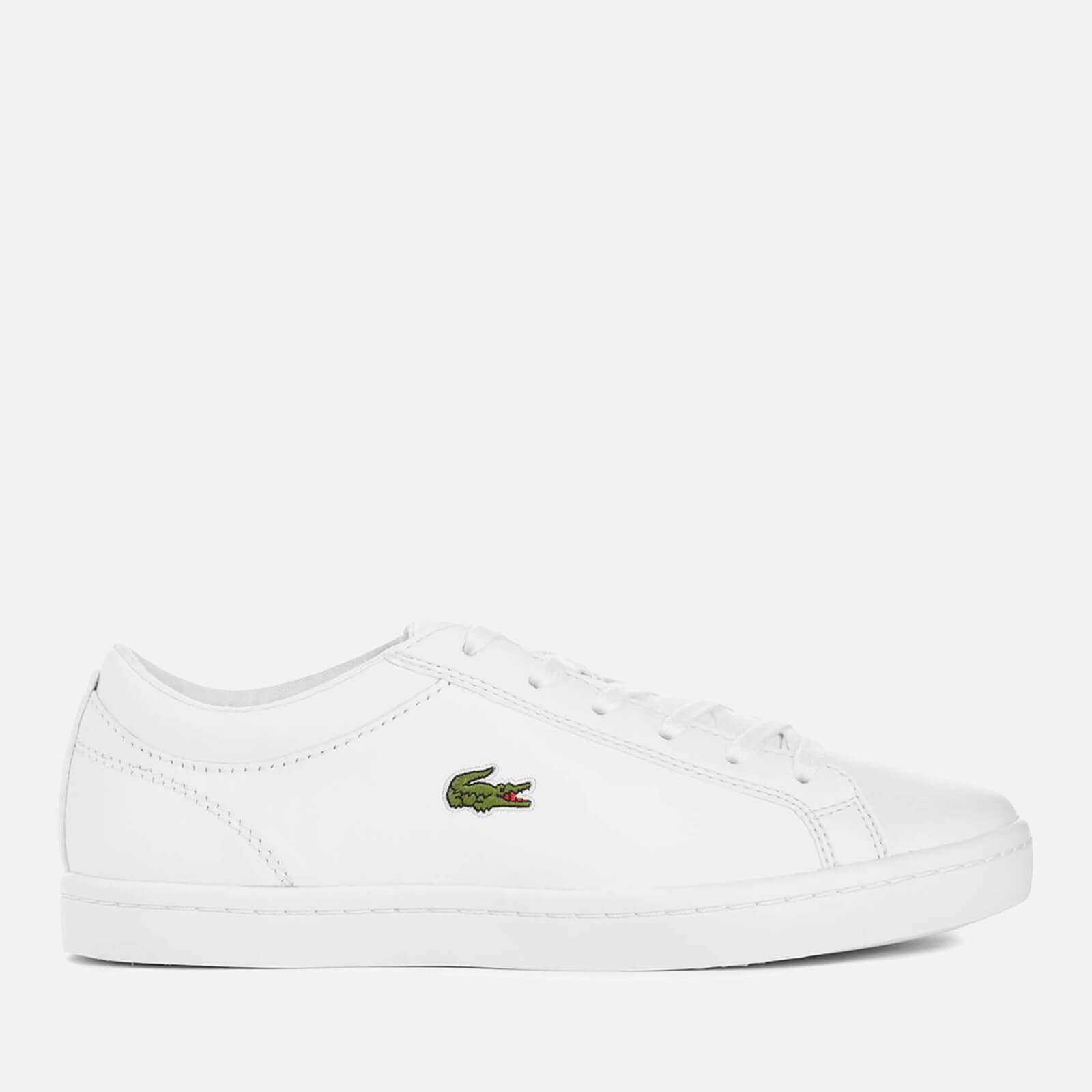 Lacoste Women's Straightset Bl 1 Leather Court Trainers - White - UK 7 - White