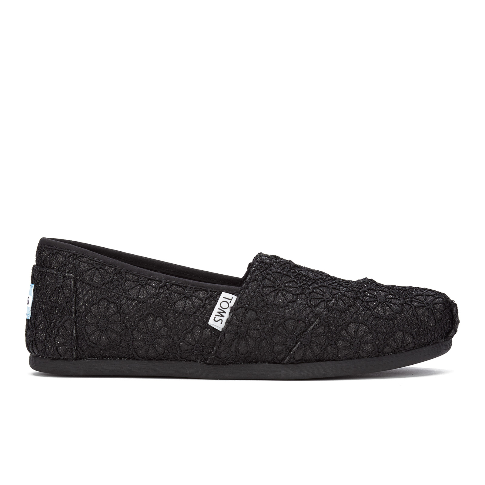92e3cc5f9658 TOMS Women's Seasonal Classics Slip-On Pumps - Black Crochet Glitter Womens  Footwear | TheHut.com