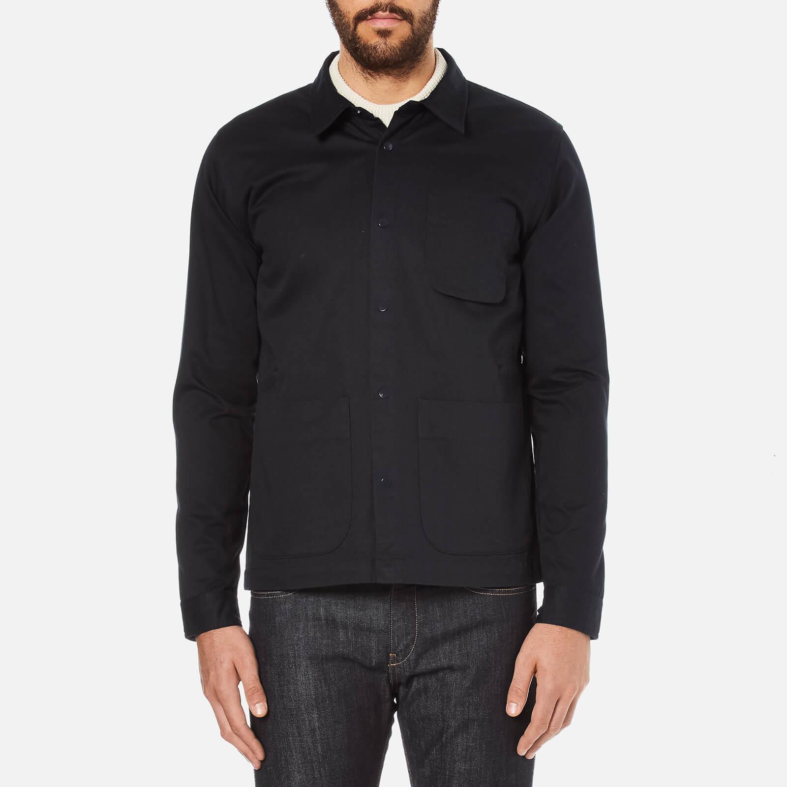 181075569 Folk Men's Painters Buttoned Over Shirt - Navy