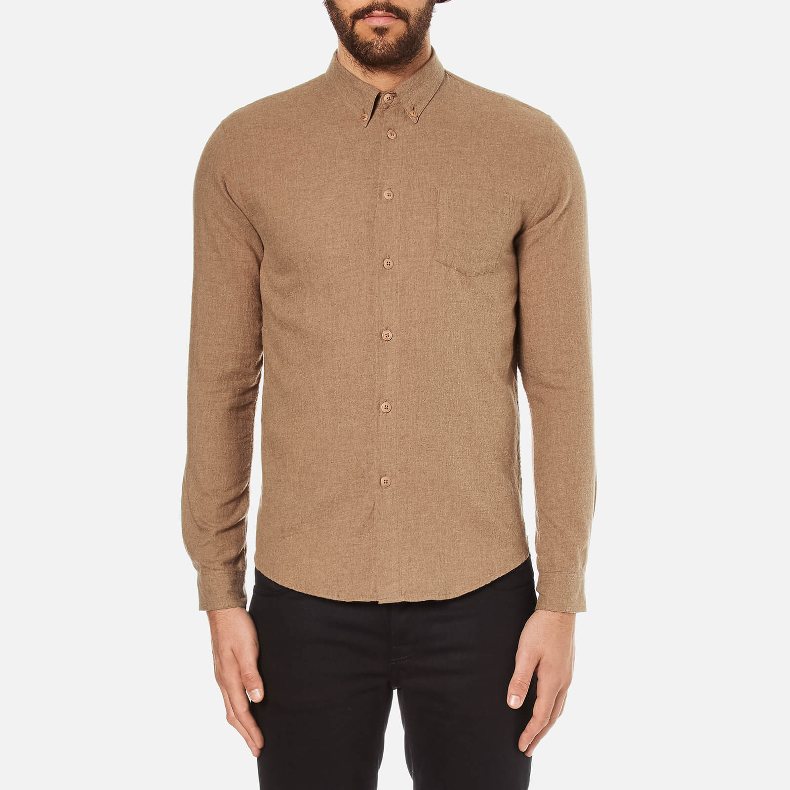 2f144e27a883bb Folk Men's Button Down Long Sleeve Shirt - Sand - Free UK Delivery over £50