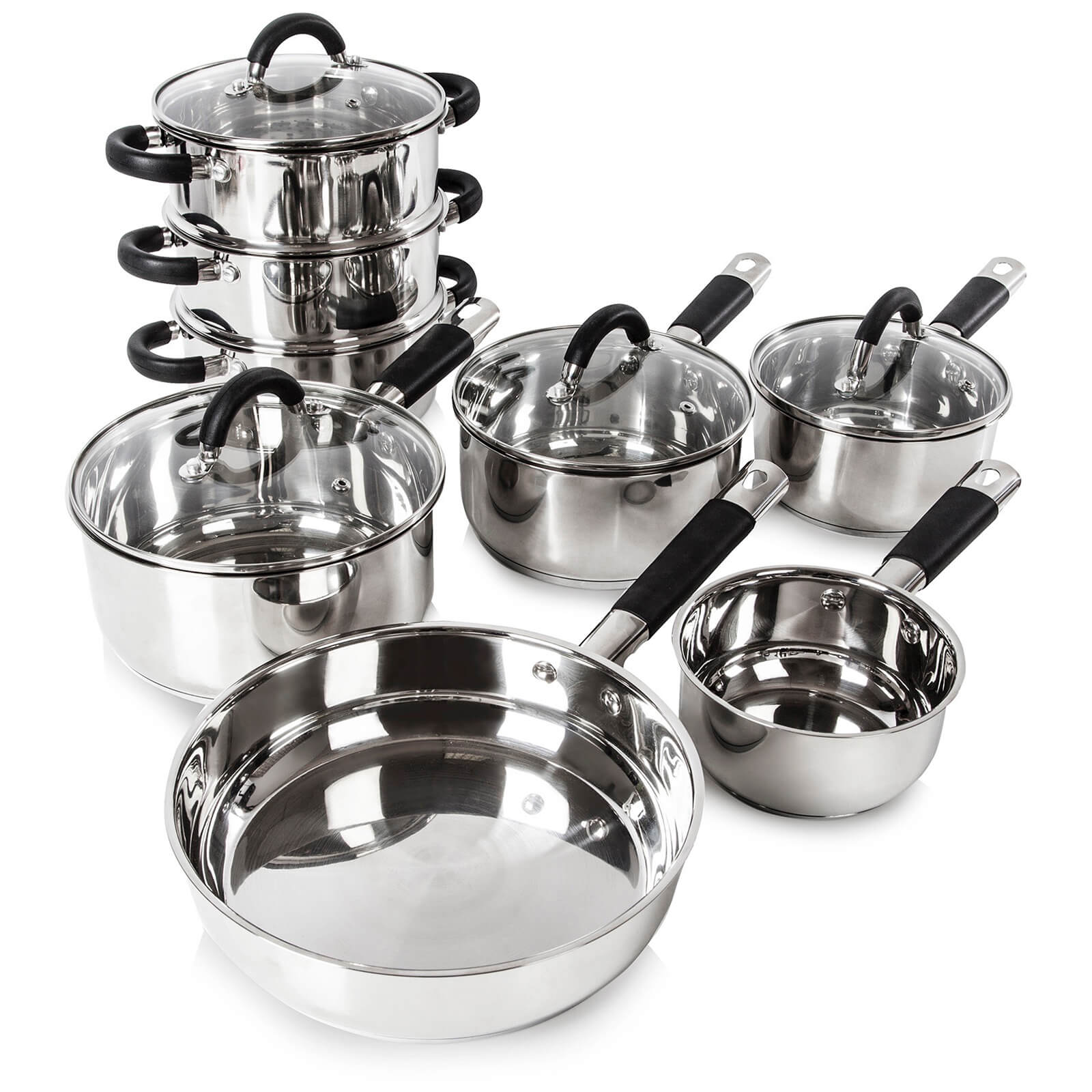Tower Essentials Pan Set - Stainless Steel (8 Piece)