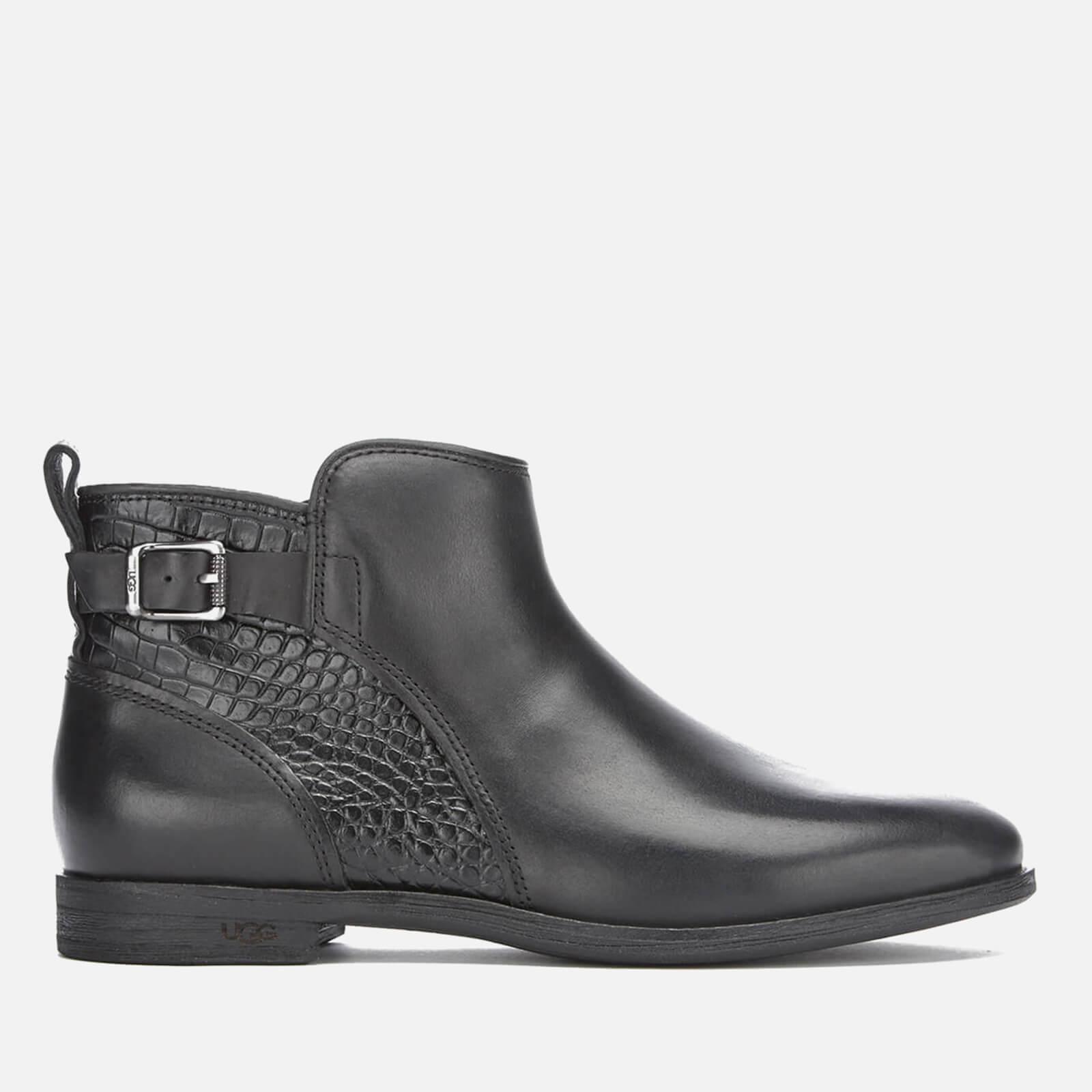 f4c0b2e0197 UGG Women's Demi Croc Leather Flat Ankle Boots - Black