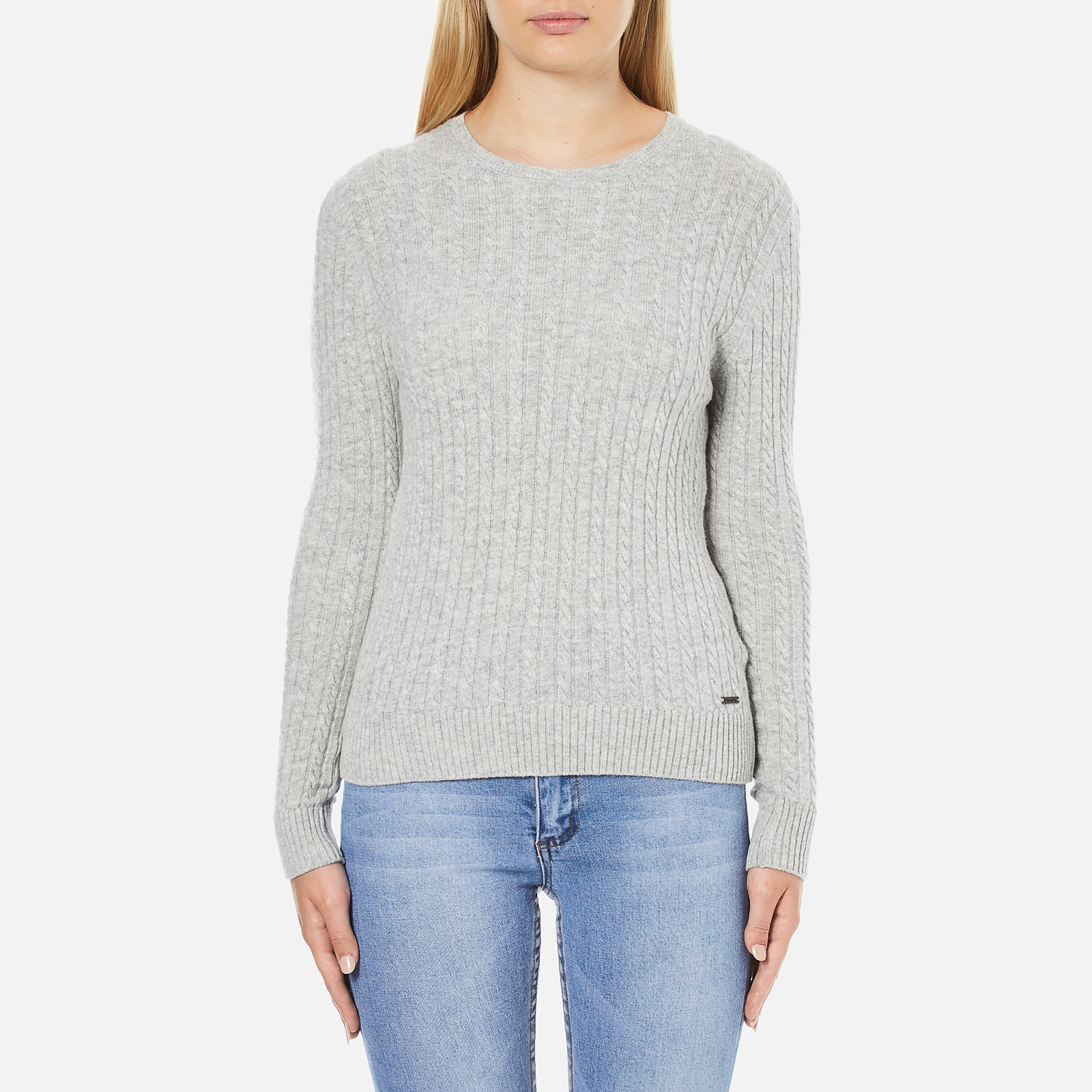 f6a67098e Superdry Women s Luxe Mini Cable Knit Jumper - Grey Marl Womens Clothing