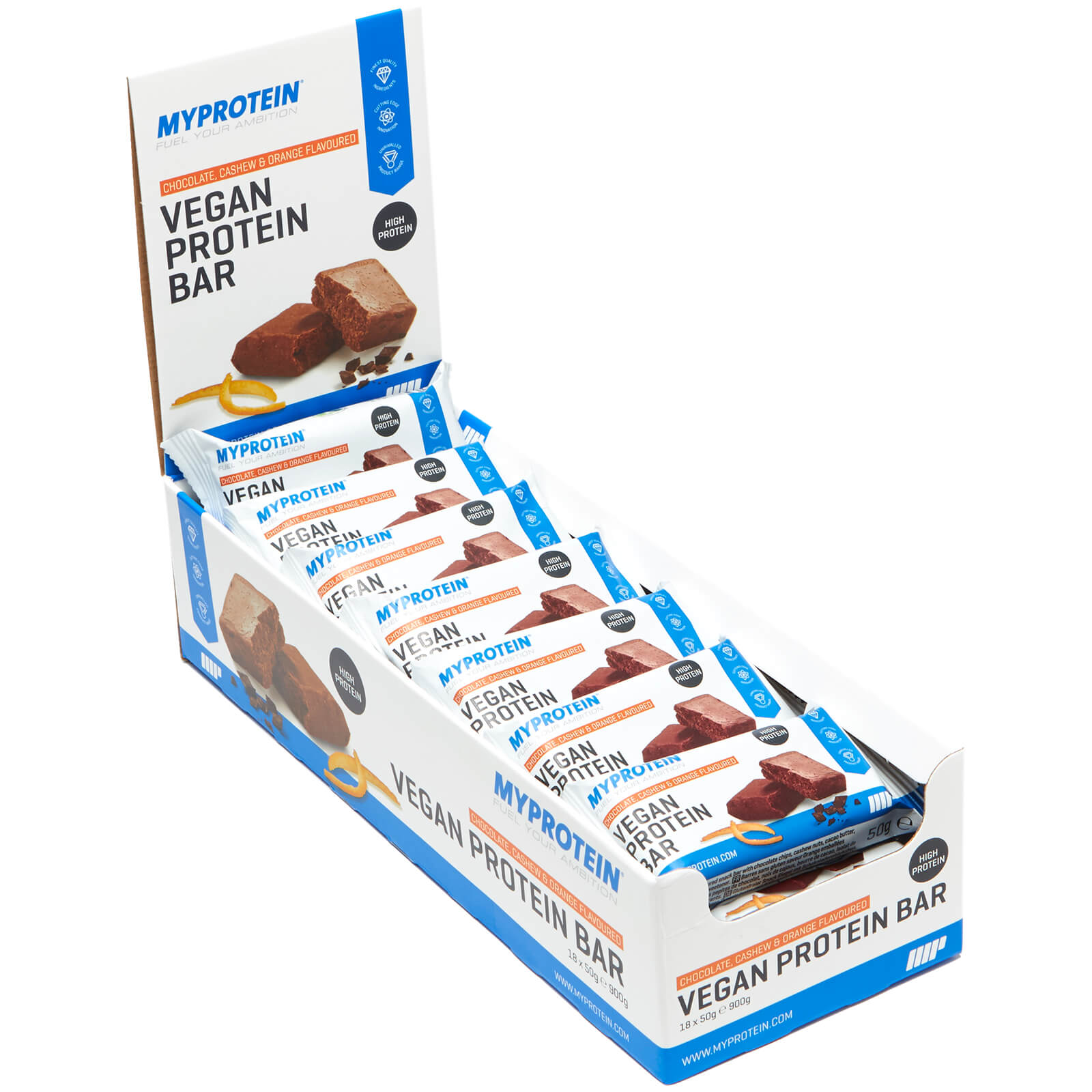 Vegan Protein Bar, Chocolate, Cashew & Orange, 18 x 50g