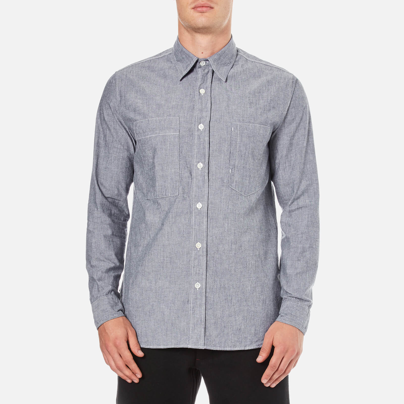 224310f93cb6 Nigel Cabourn Men s Denim Chambray Workers Shirt - Indigo - Free UK  Delivery over £50