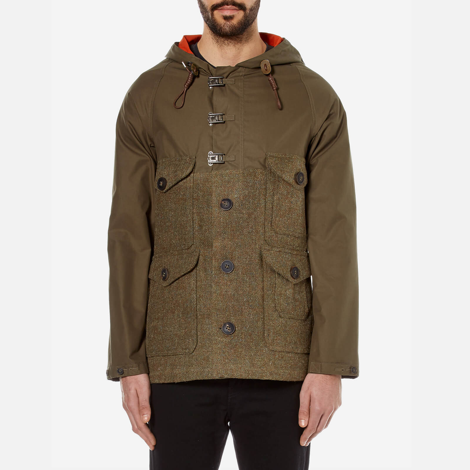 58797159478c Nigel Cabourn Men s Hybrid Finish Harris Tweed Cameraman Converse Jacket -  Army - Free UK Delivery over £50