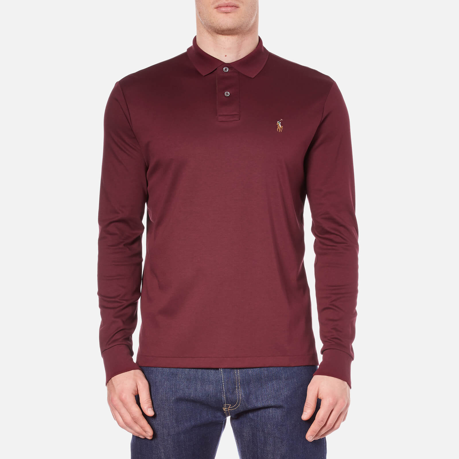 543eb7f9d87f Polo Ralph Lauren Men's Long Sleeve Custom Fit Polo Shirt - Classic Wine -  Free UK Delivery over £50