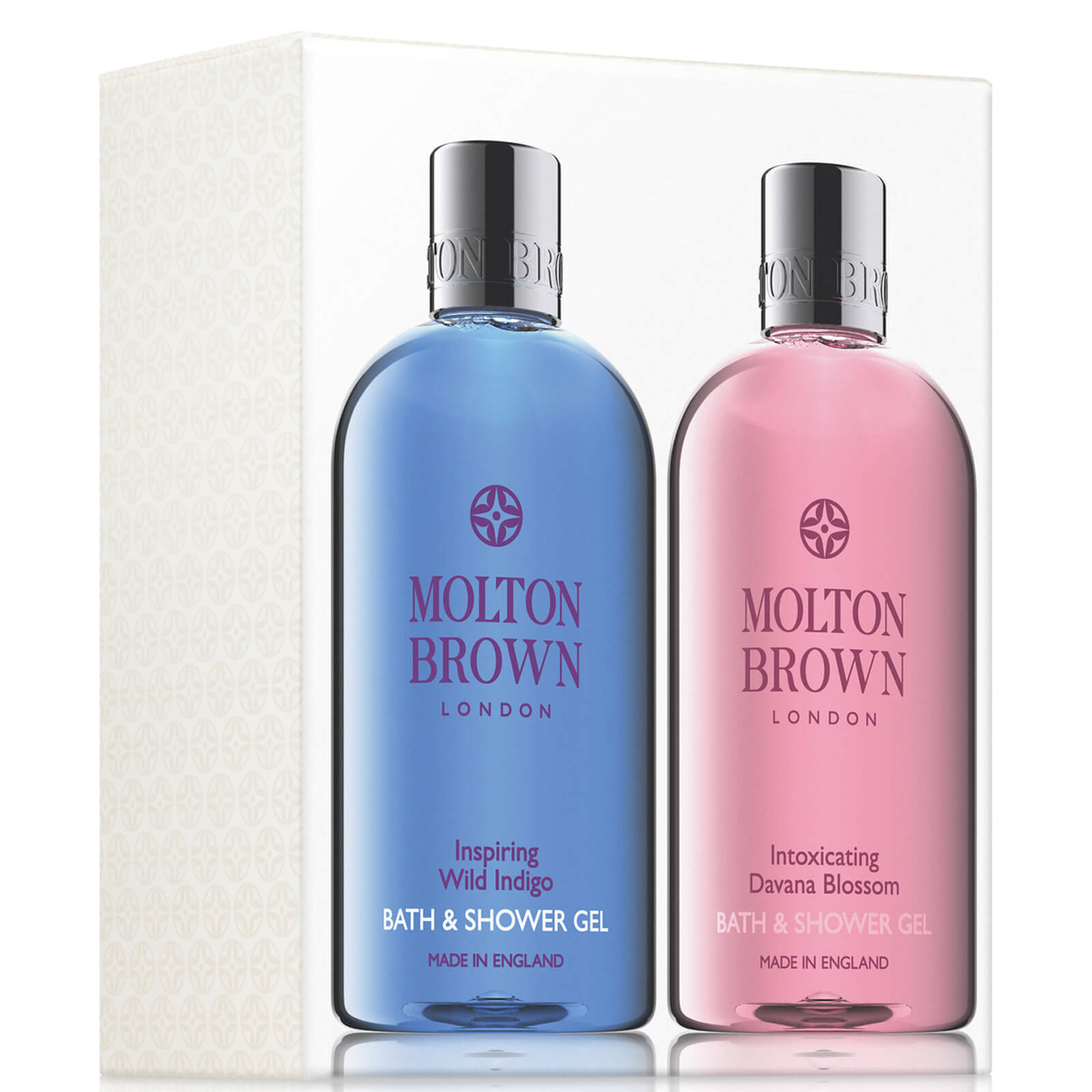 Molton Brown Inspiring Wild Indigo and Intoxicating Davana Blossom Bath and Shower Gel Set 2 x 300ml (Worth £40.00)