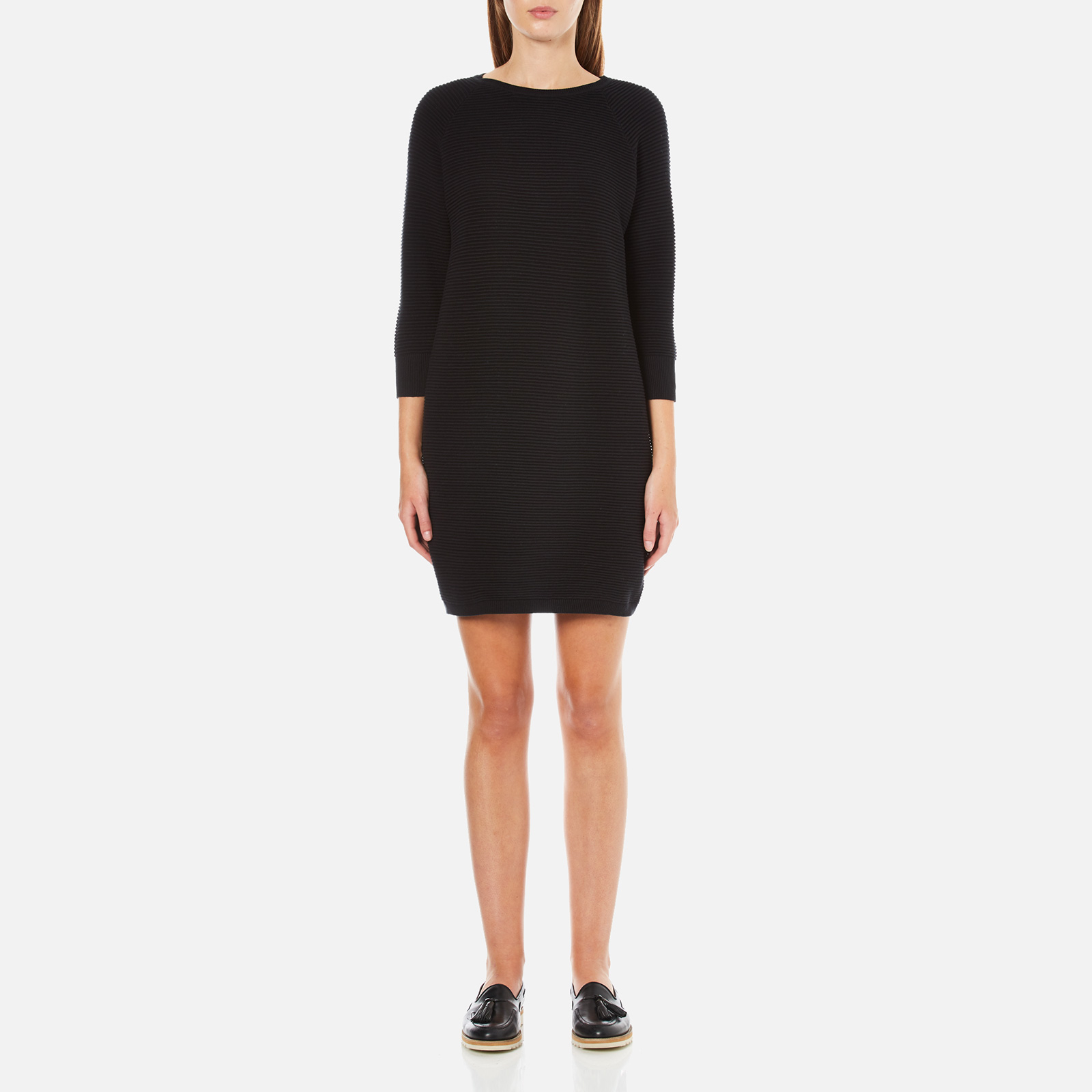 670e6fd0110 French Connection Women's Mozart Ripple Roundneck Jumper Dress - Black -  Free UK Delivery over £50