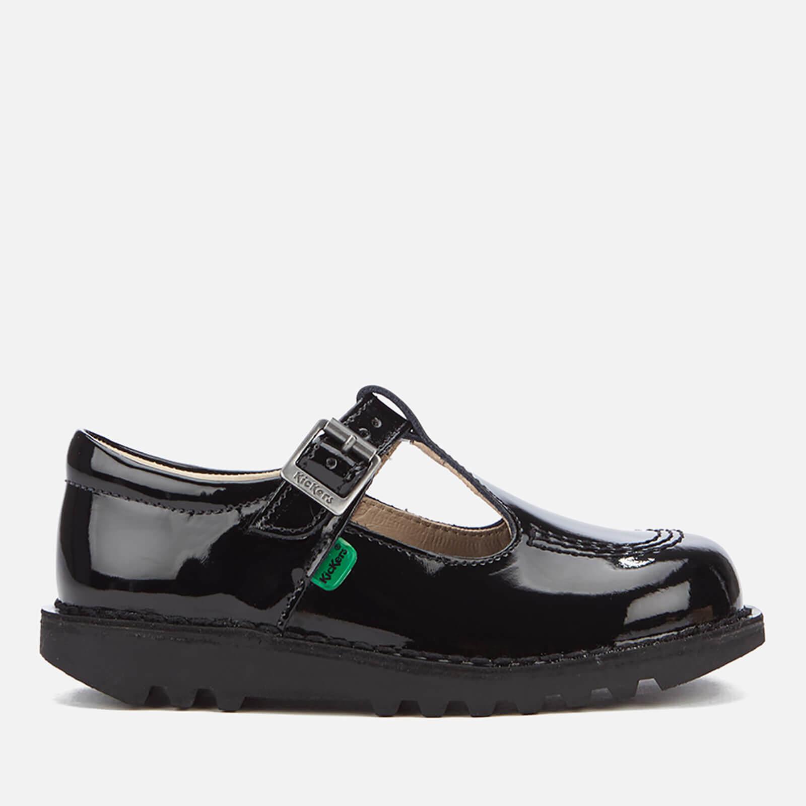 Kickers Kids  Kick T Patent Flat Shoes - Black Junior Clothing  1e3bb118758