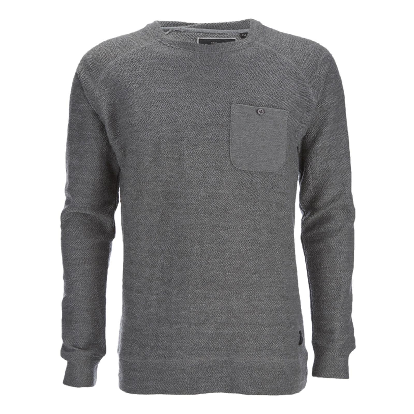 e81e3fec0b0955 Brave Soul Men's Adler Textured Pocket Jumper - Mid Grey | IWOOT