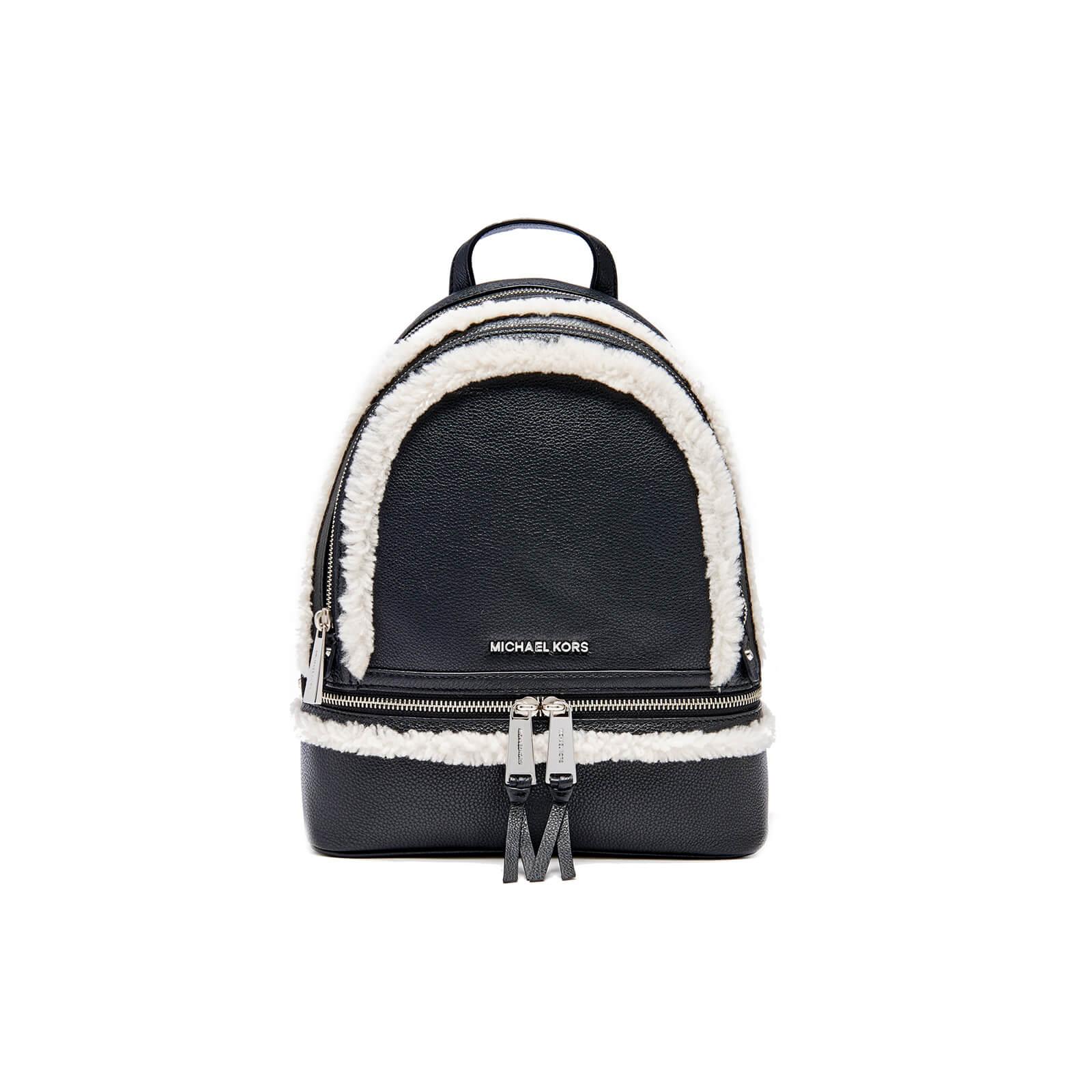 aaeb687a1c7e84 MICHAEL MICHAEL KORS Women's Rhea Zip Mid Shearling Trim Backpack - Black -  Free UK Delivery over £50