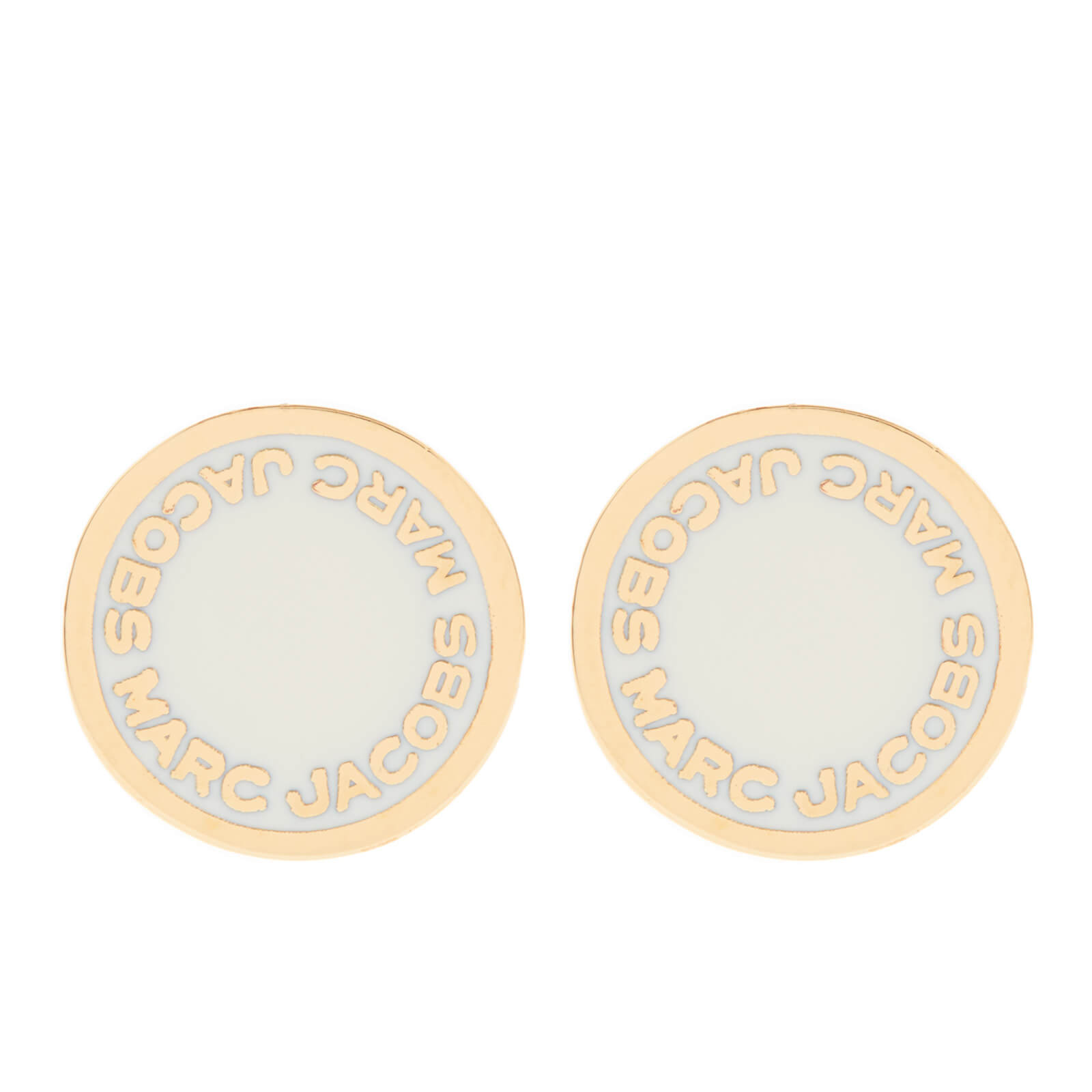 97fa7caf3 Marc Jacobs Women's Enamel Logo Disc Stud Earrings - Cream - Free UK  Delivery over £50