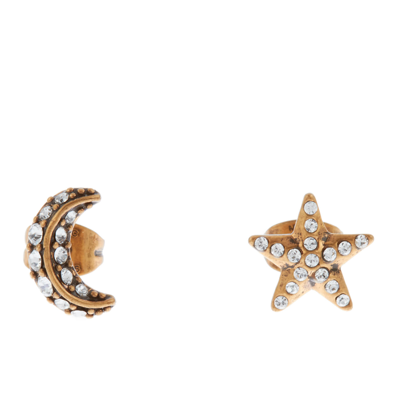 31d56788e Marc Jacobs Women's Moon and Stars Stud Earrings - Crystal/Antique Gold - Free  UK Delivery over £50