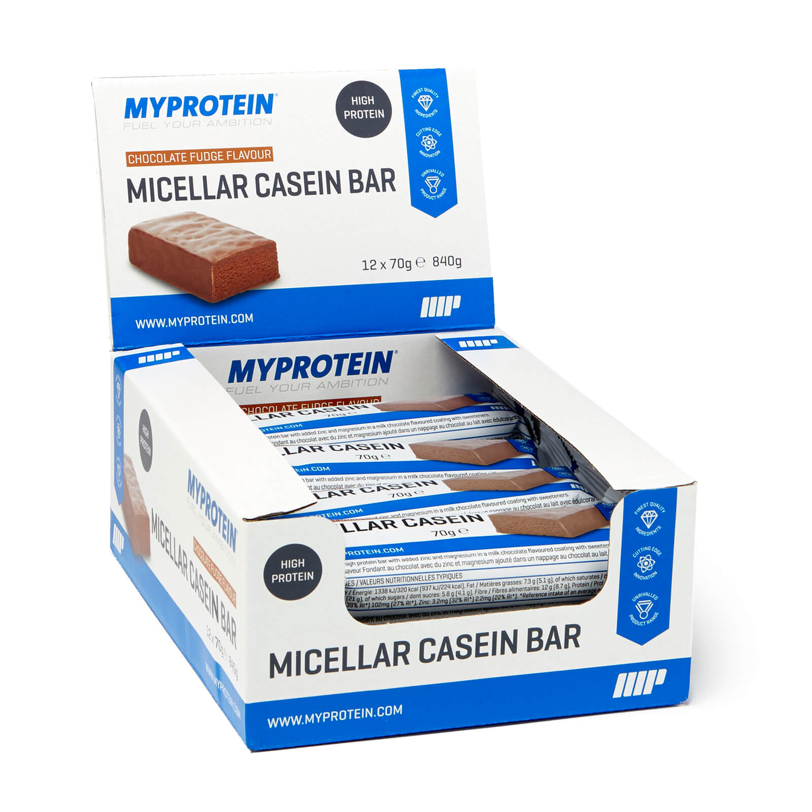 Micellar Casein Bar, Chocolate Fudge 12 x 70g