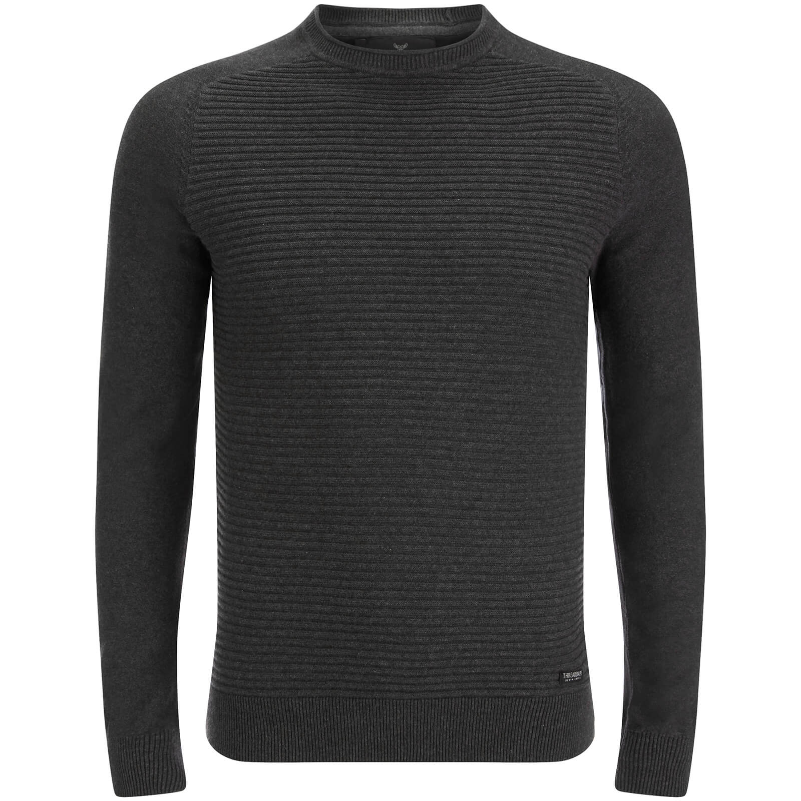 Pull Threadbare pour Homme Attic Textured Raglan -Gris Chiné