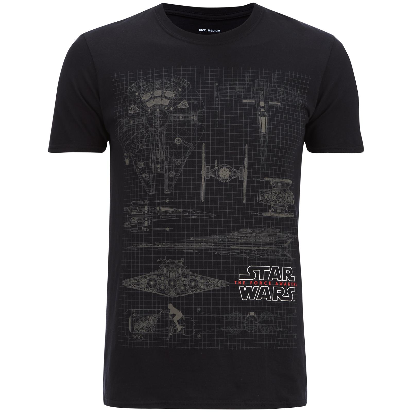 Camiseta Star Wars Diagrama Flota - Hombre - Negro Merchandise ... 7b687ac889a9d