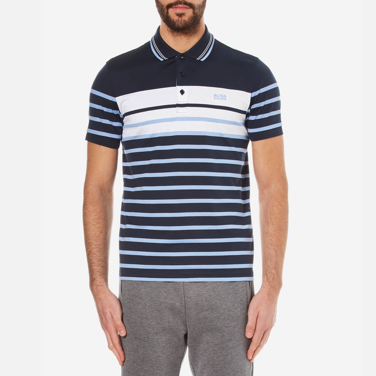 a7673343 BOSS Green Men's Paule 3 Striped Polo Shirt - Navy - Free UK Delivery over  £50