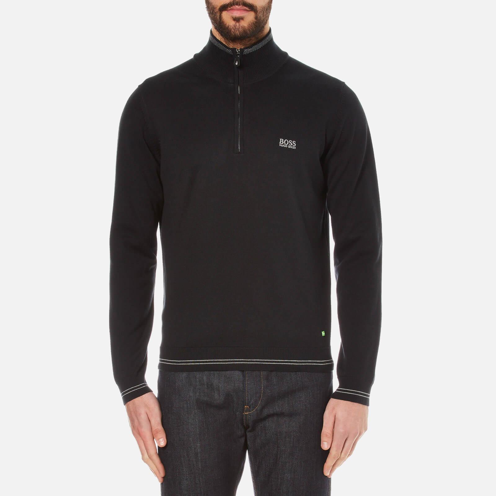 c52231bff59 BOSS Green Men's Zime Zip Neck Knitted Jumper - Black