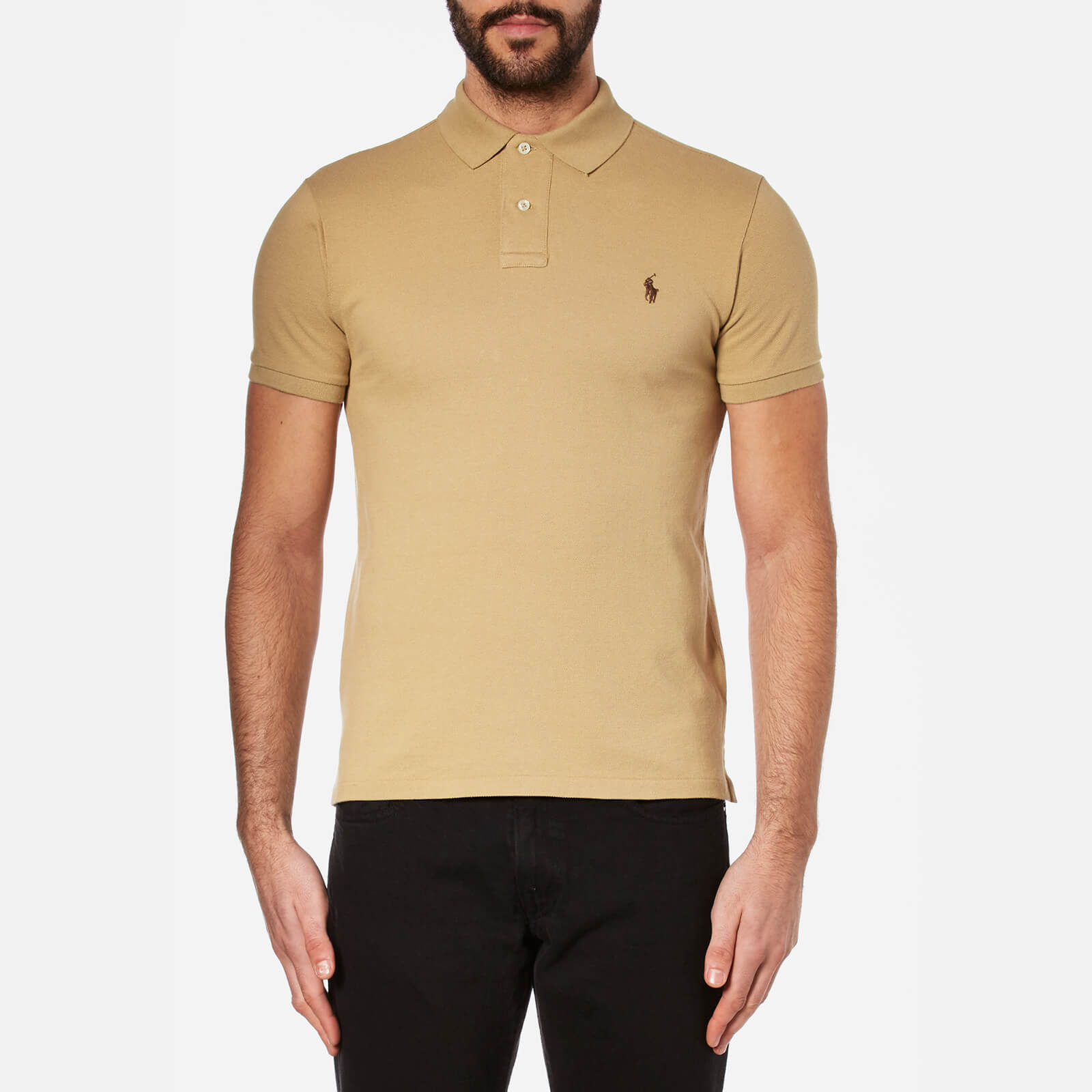 af4ed4b3 Polo Ralph Lauren Men's Slim Fit Short Sleeved Polo Shirt - Luxury Tan -  Free UK Delivery over £50