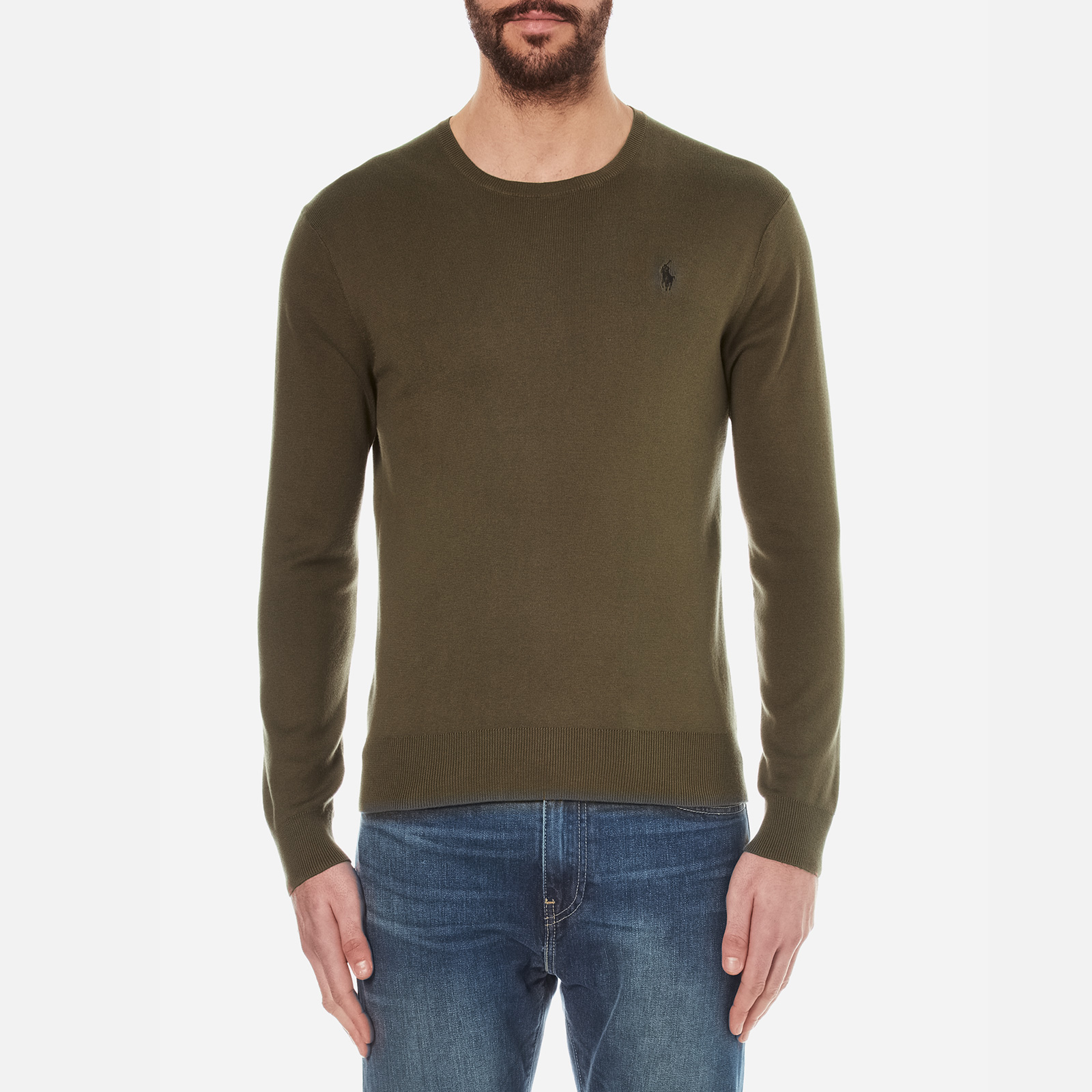 18140466d5618 Polo Ralph Lauren Men s Crew Neck Pima Cotton Knitted Jumper - New Olive -  Free UK Delivery over £50