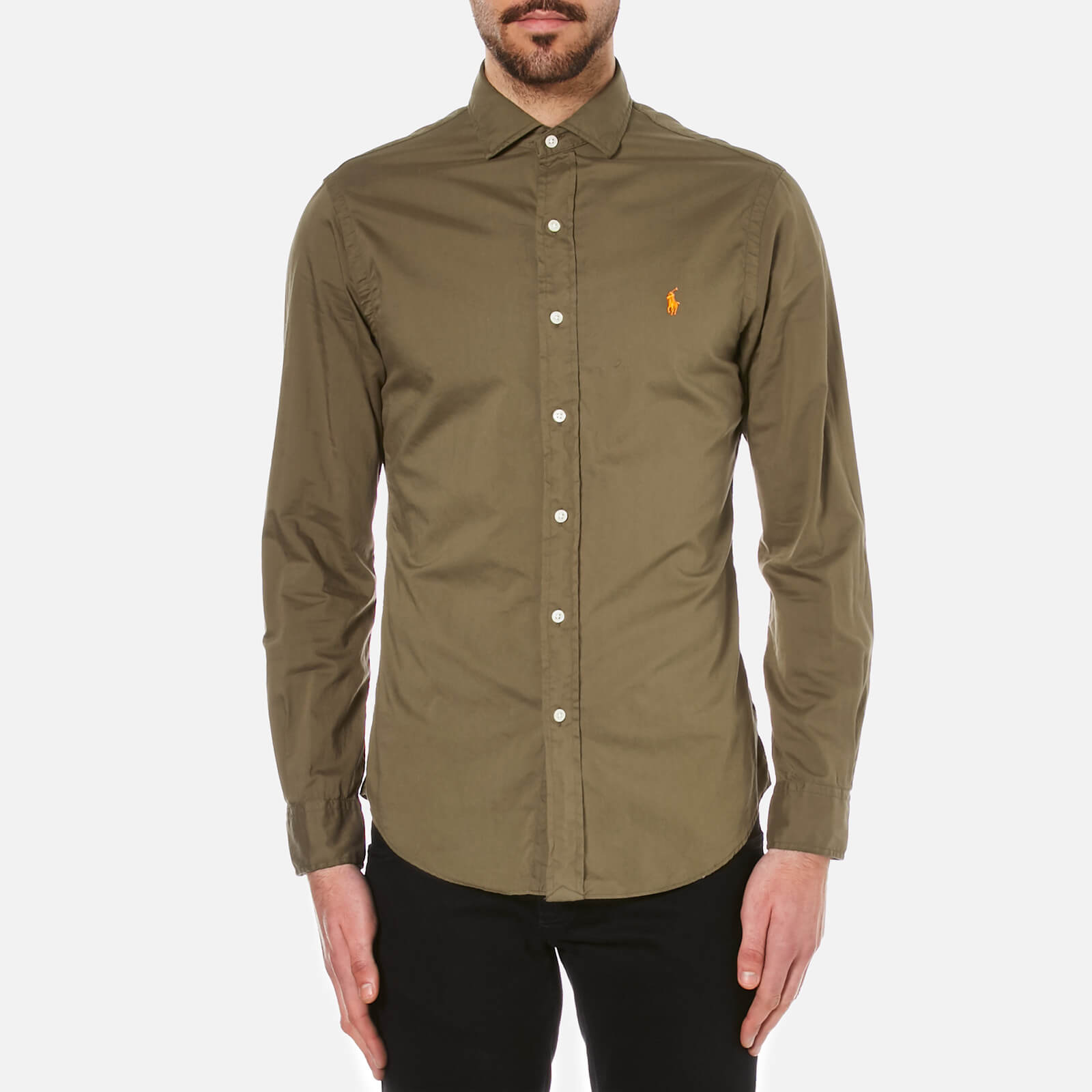 69127f07a744 Polo Ralph Lauren Men s Long Sleeve Slim Shirt - Olive - Free UK Delivery  over £50