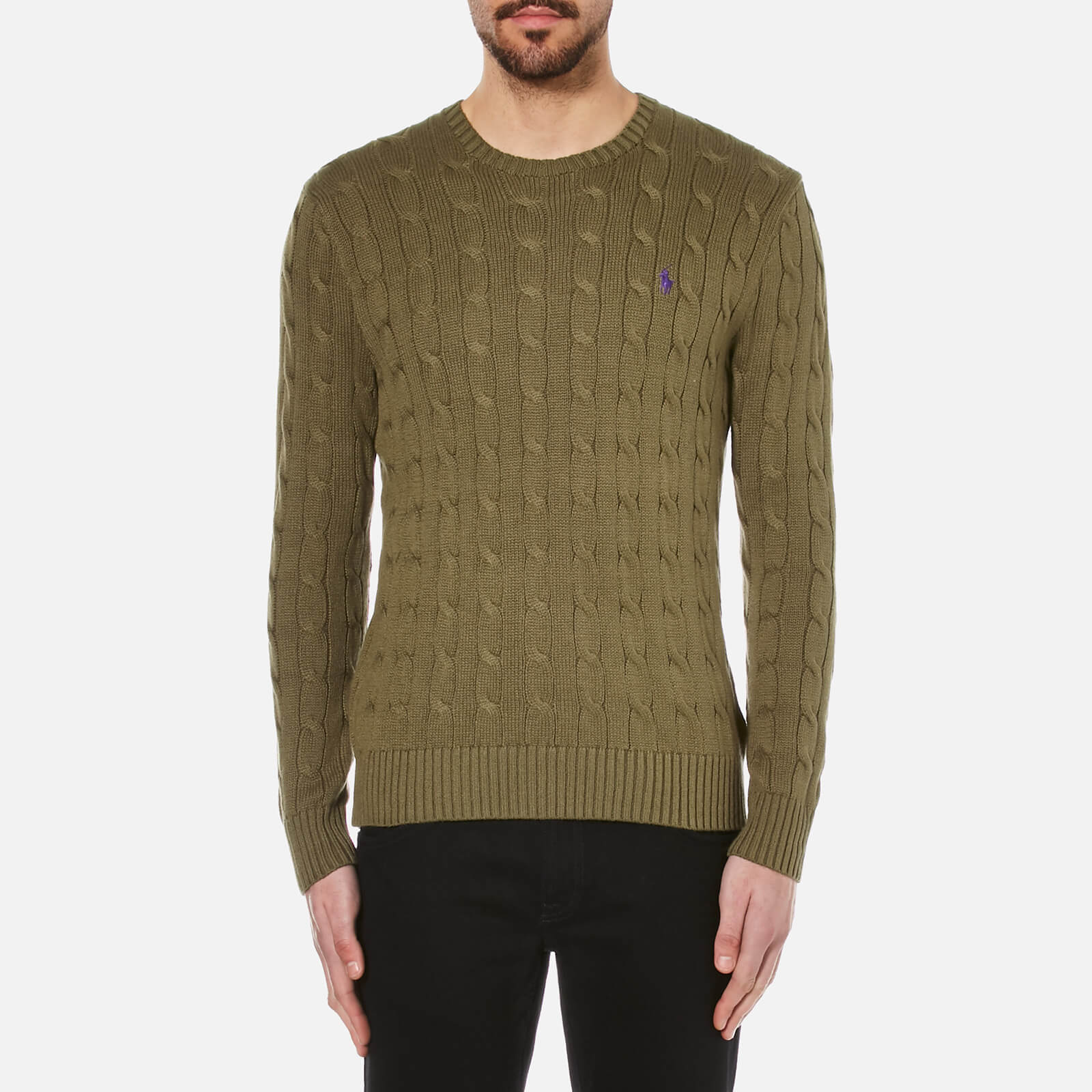 54c4515df5f5fc Polo Ralph Lauren Men s Crew Neck Cable Knitted Jumper - New Olive - Free  UK Delivery over £50