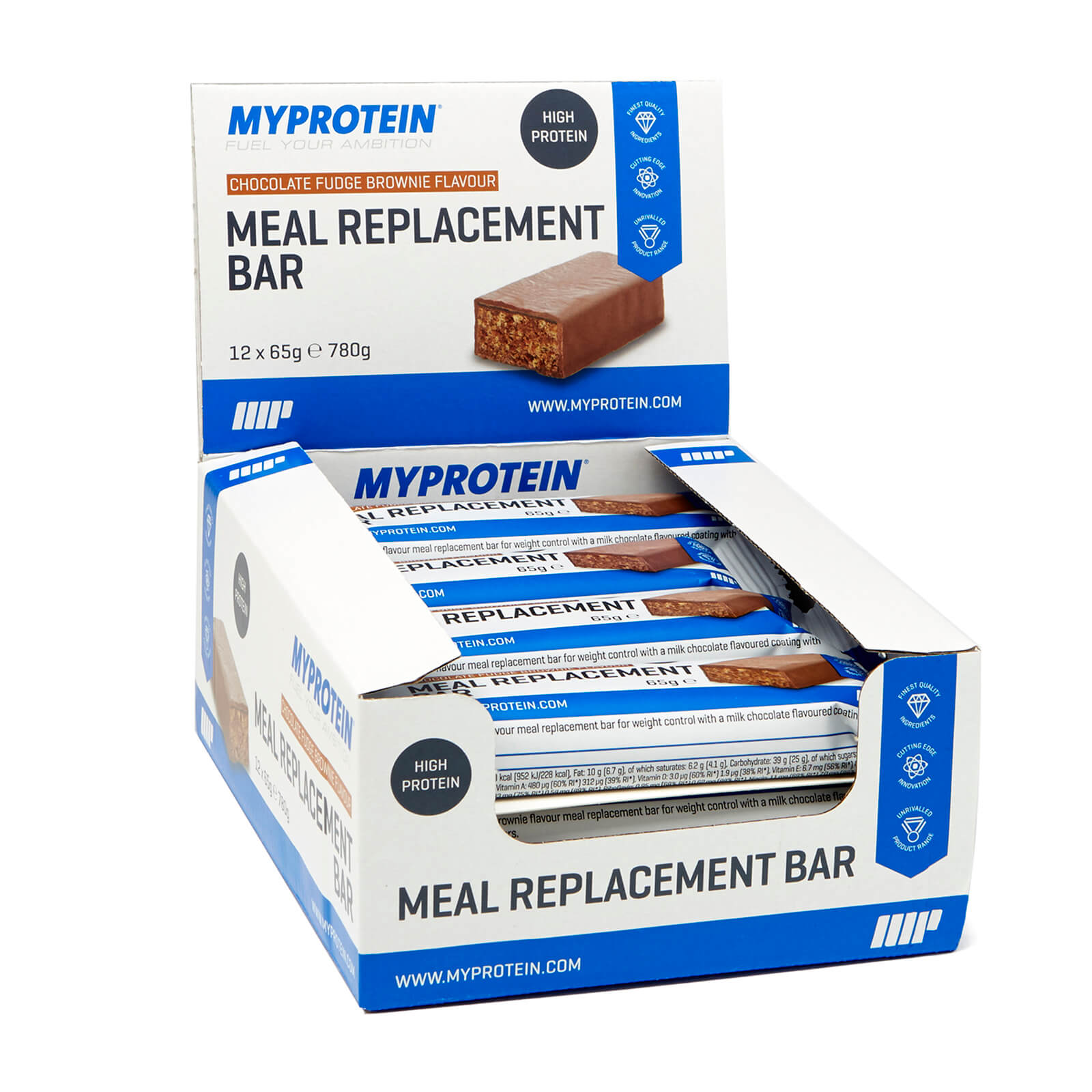 Meal Replacement Bar, Chocolate Fudge, 12 x 65g