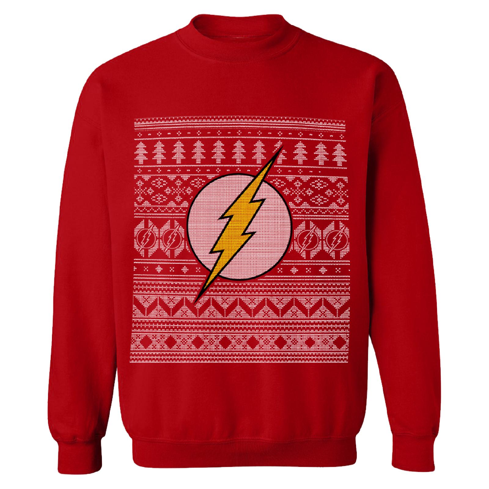 Uniseks Kersttrui.Dc Comics Men S The Flash Christmas Fairisle Sweatshirt Red