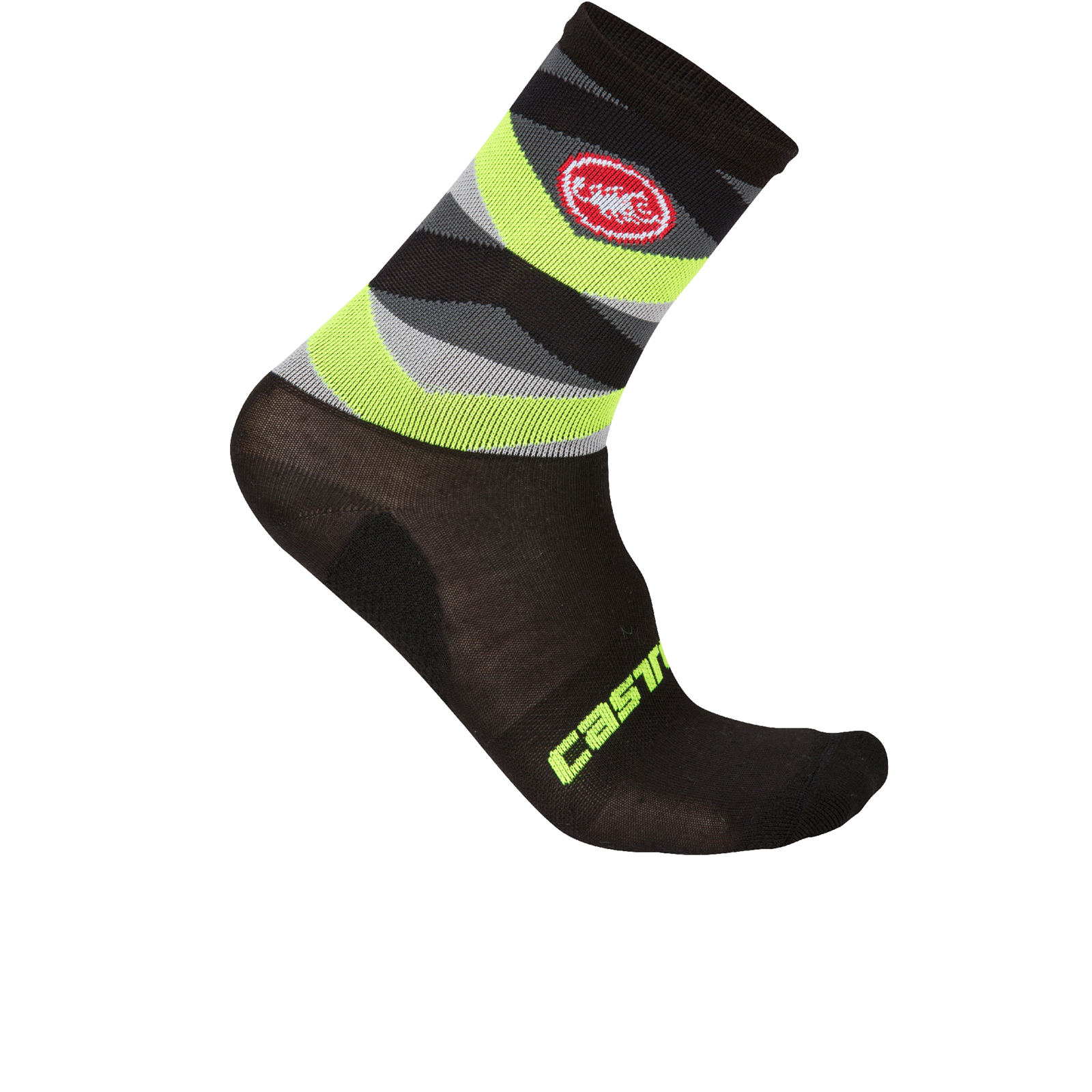 Castelli Fatto 12 Socks - Black/Yellow Fluo