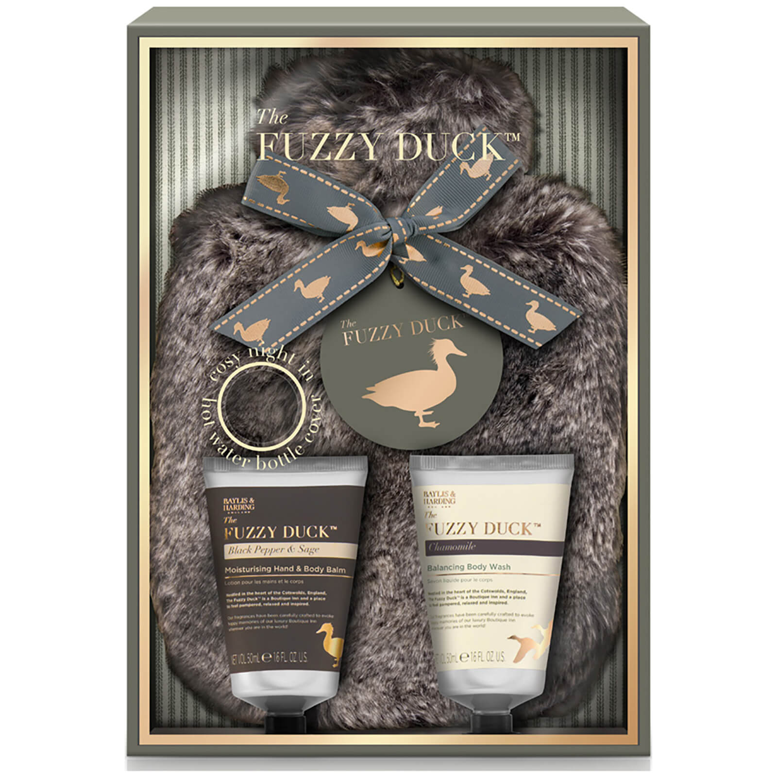 Water Bottle Set: Baylis & Harding Fuzzy Duck Black Pepper & Sage 3 Piece