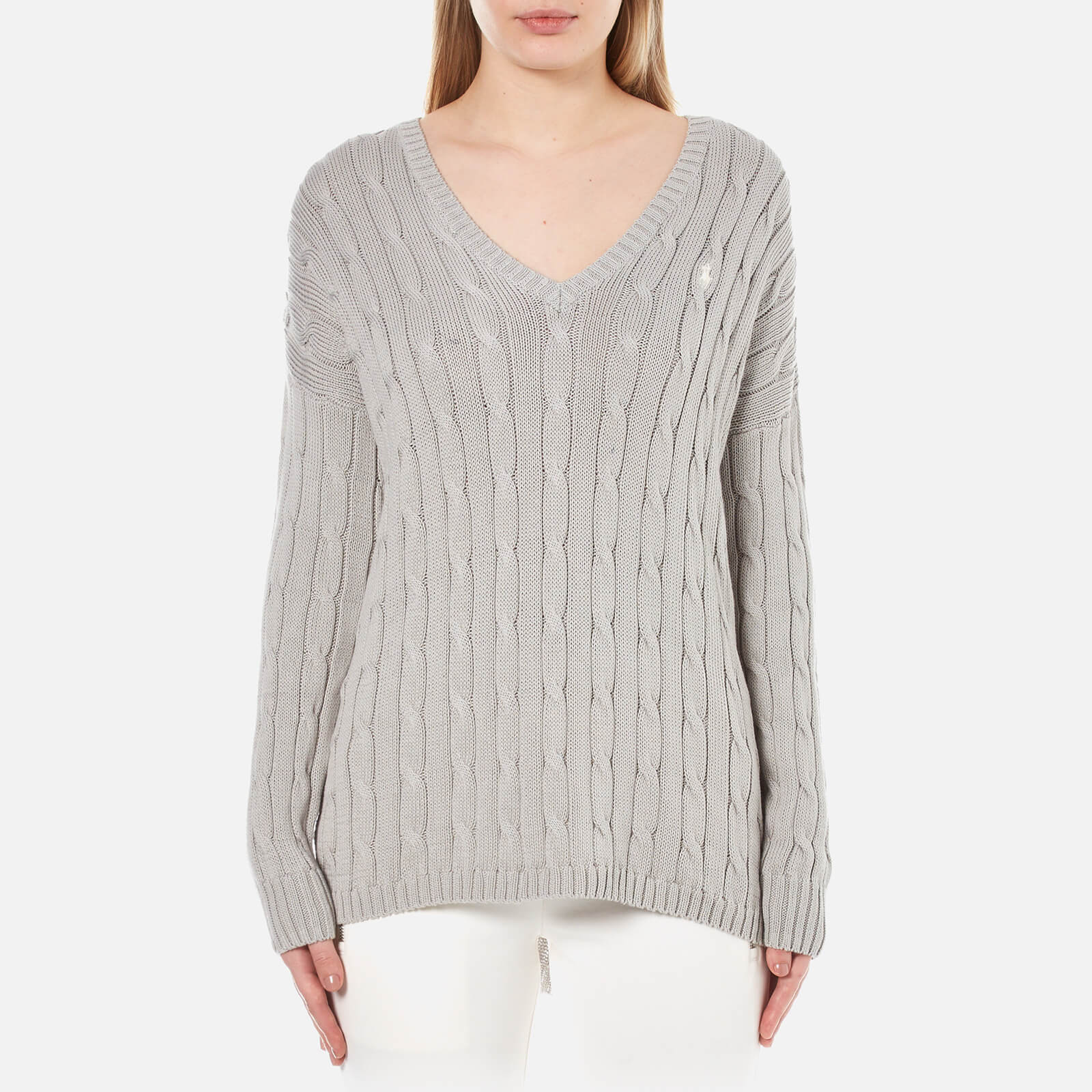 e101ad6f3775b6 Polo Ralph Lauren Women s V Neck Side Slit Jumper - Oxford Grey - Free UK  Delivery over £50